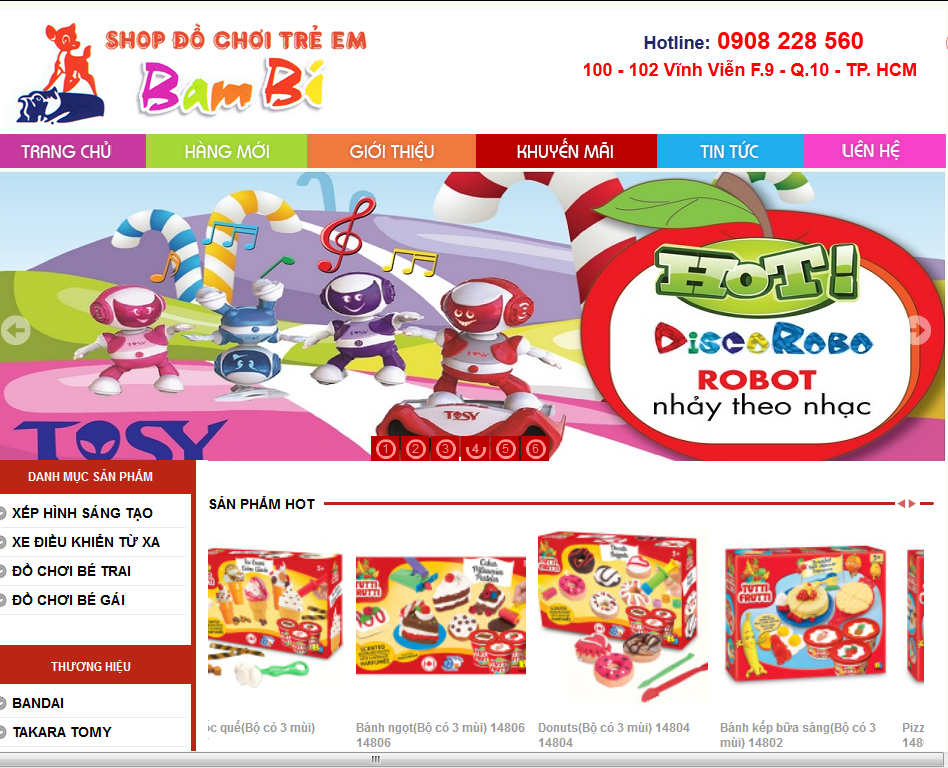 Thiết kế website Đồ chơi trẻ em Bambi