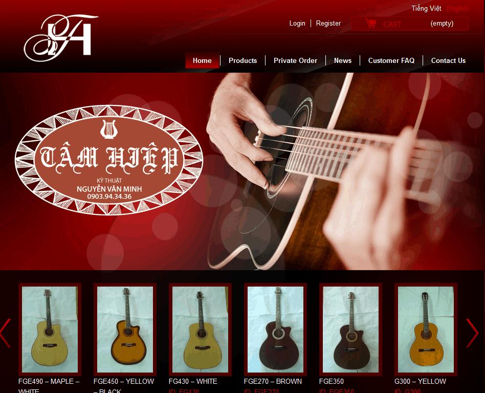 Thiết kế website Shop Guitar