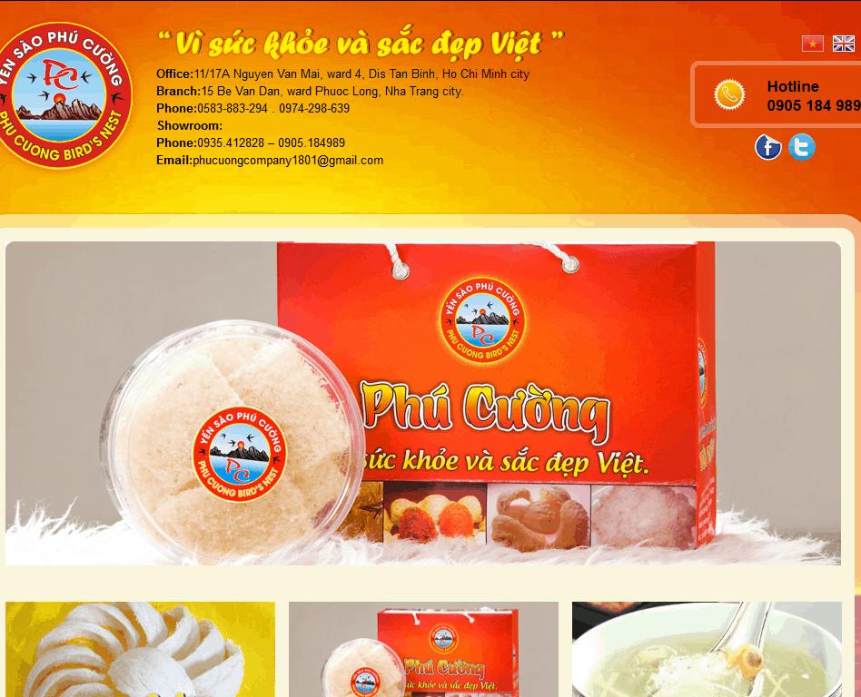 Thiết kế website Tổ yến Phú Cường