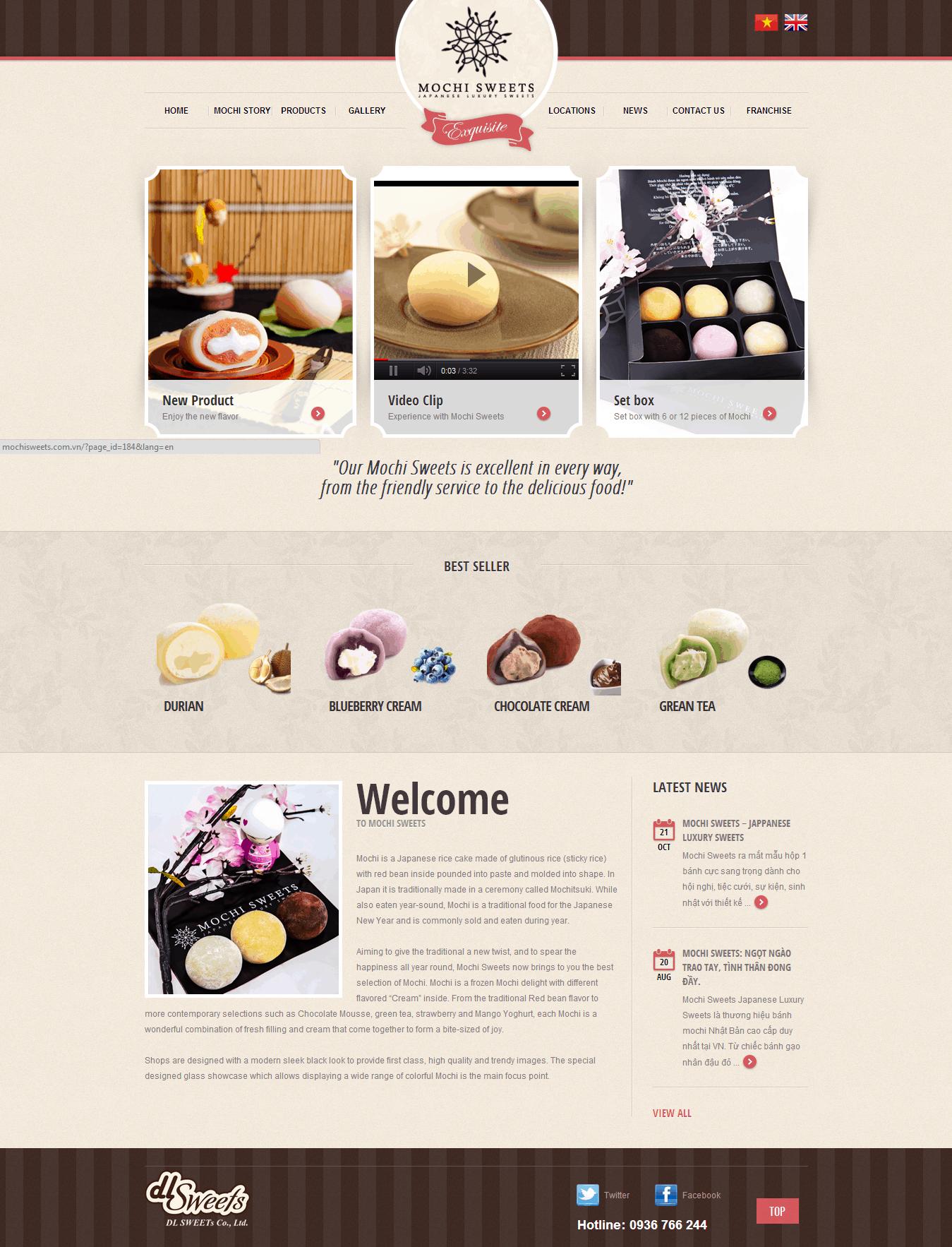 Thiết kế website Bánh kẹo Mochi