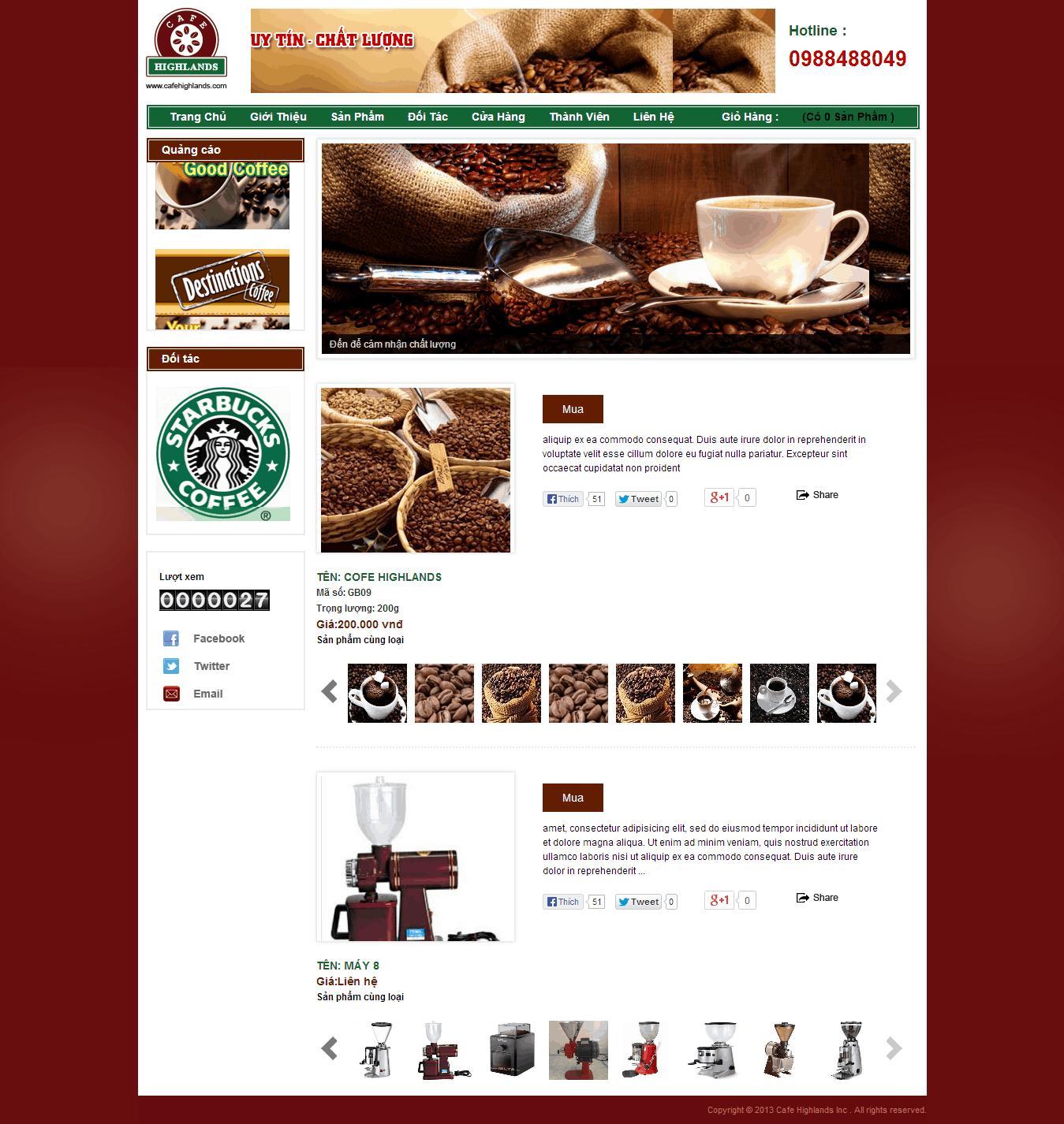 Thiết kế website Cafe highlands