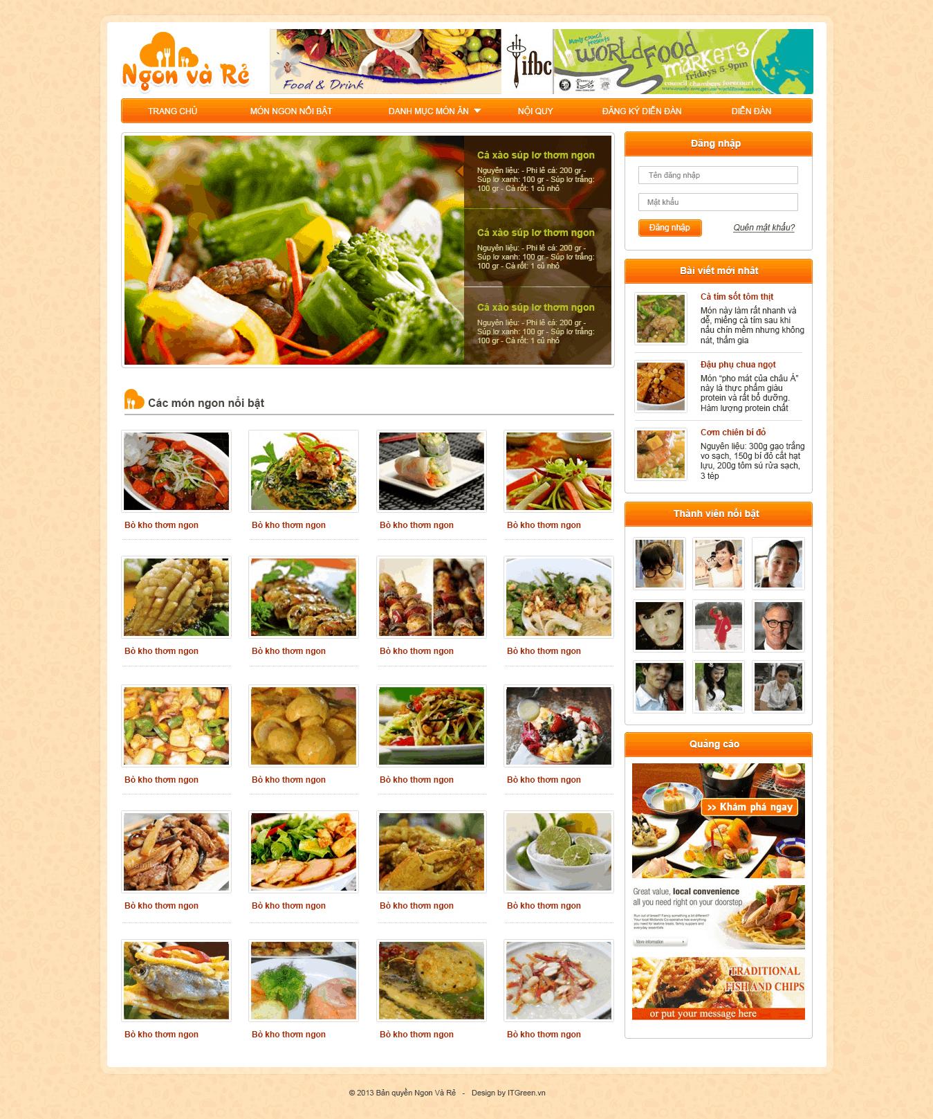 Thiết kế website Thực phẩm ngon mà rẻ