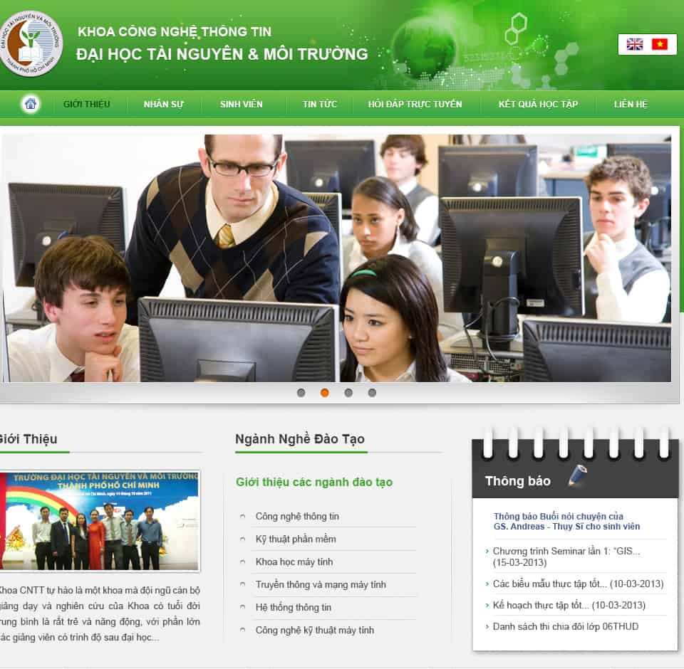 Thiết kế website Đại Học Tài Nguyên Môi Trường