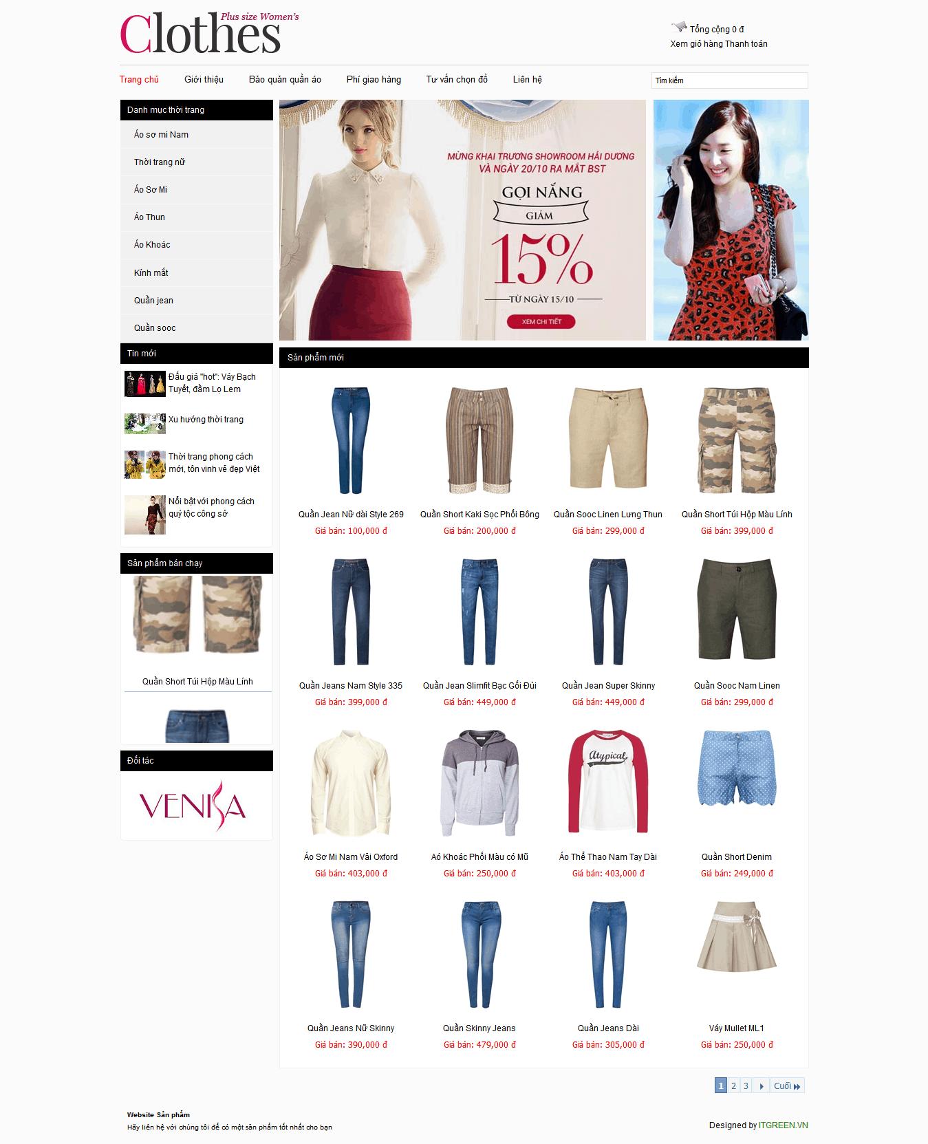 Thiết kế website Thời Trang Công Sở
