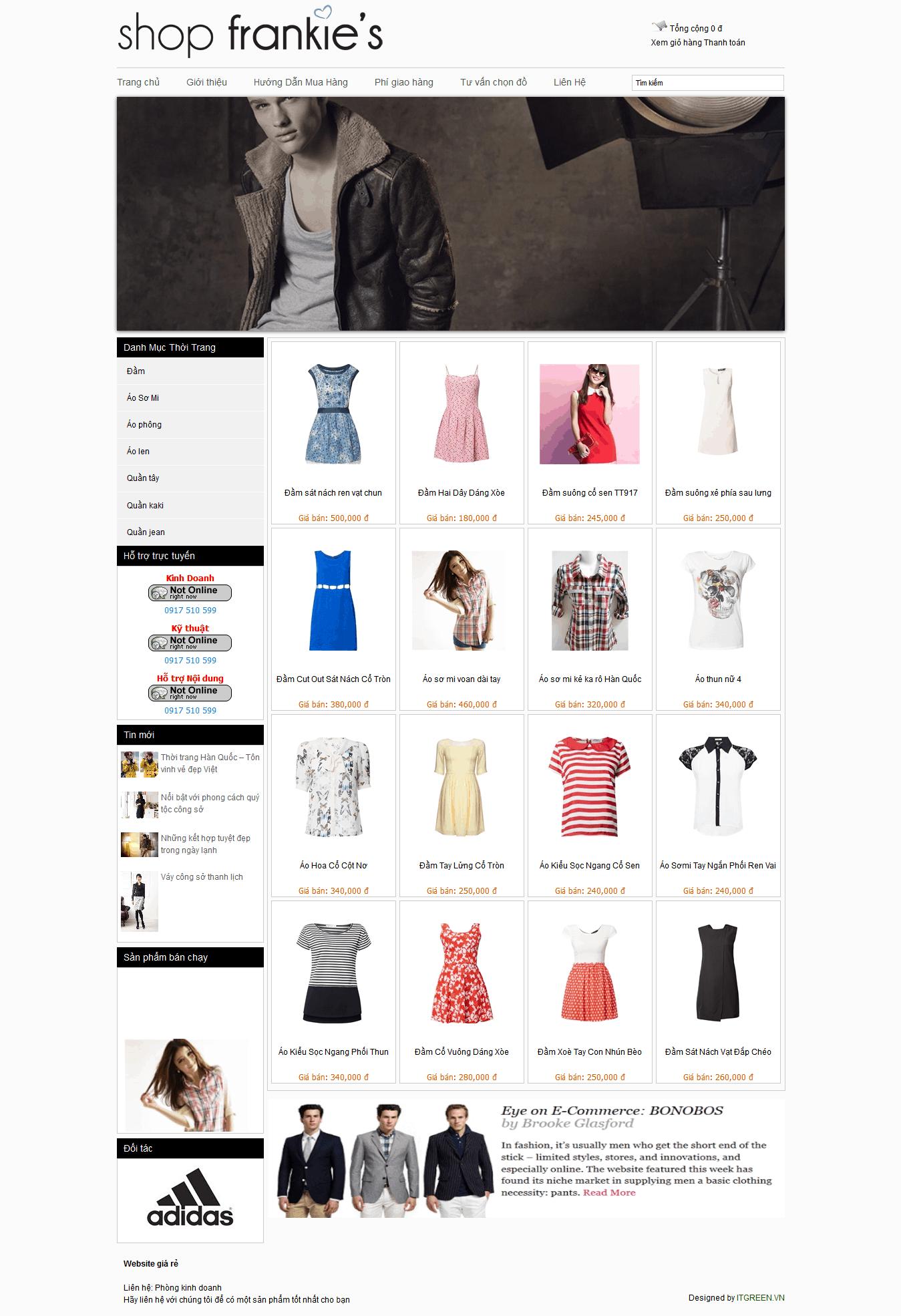 Thiết kế website Shop thời trang Teen