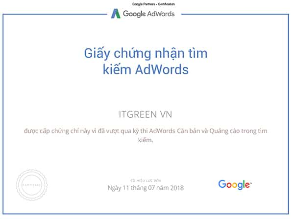Google-Partners--Certification-ITGREEN-AWords
