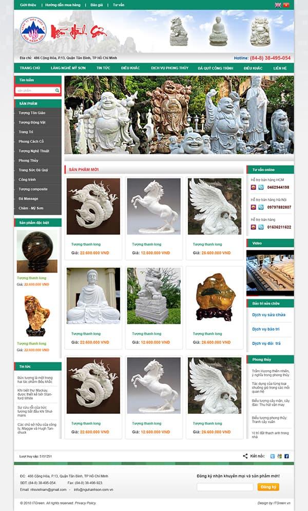 Thiết kế website Website điêu khắc đá ngũ hành sơn