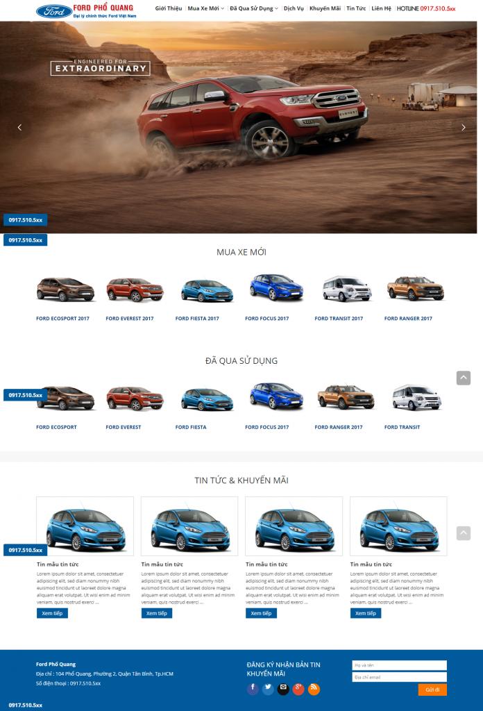 Xe ô tô ford, thiết kế website bán ô tô