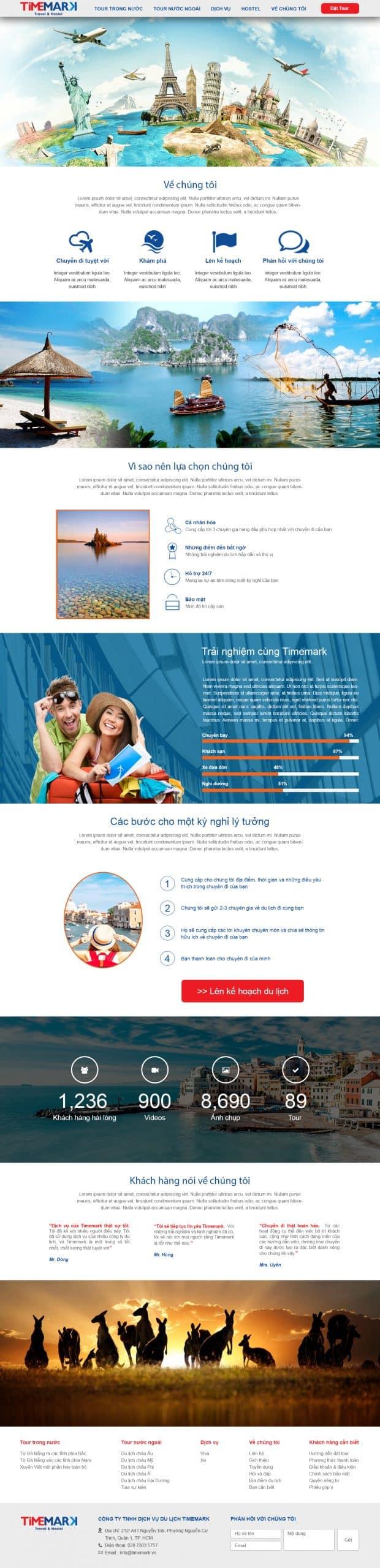 Thiết kế website Thiết kế website du lịch timemark