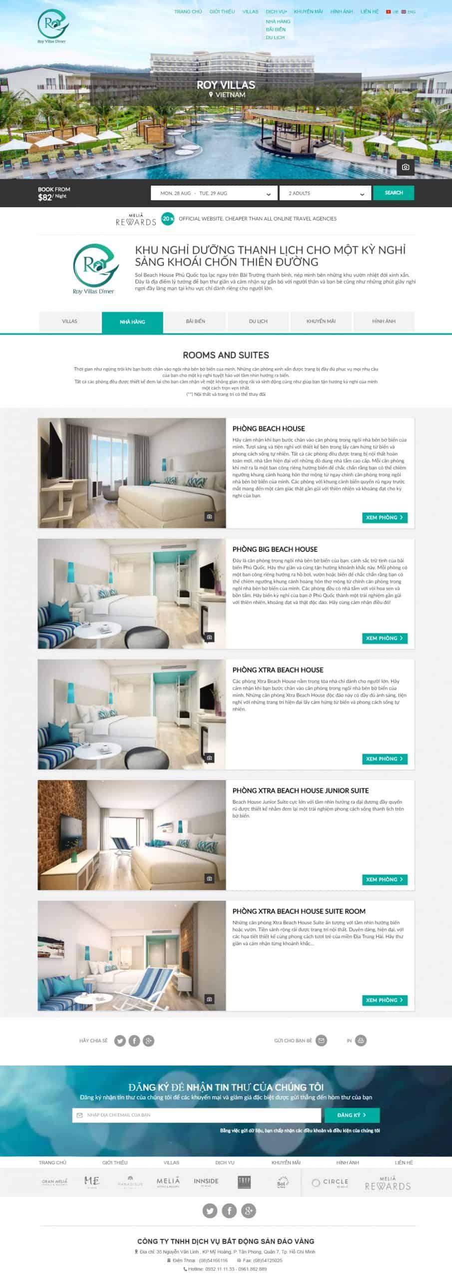 Thiết kế website Thiết kế website du lịch roy villas
