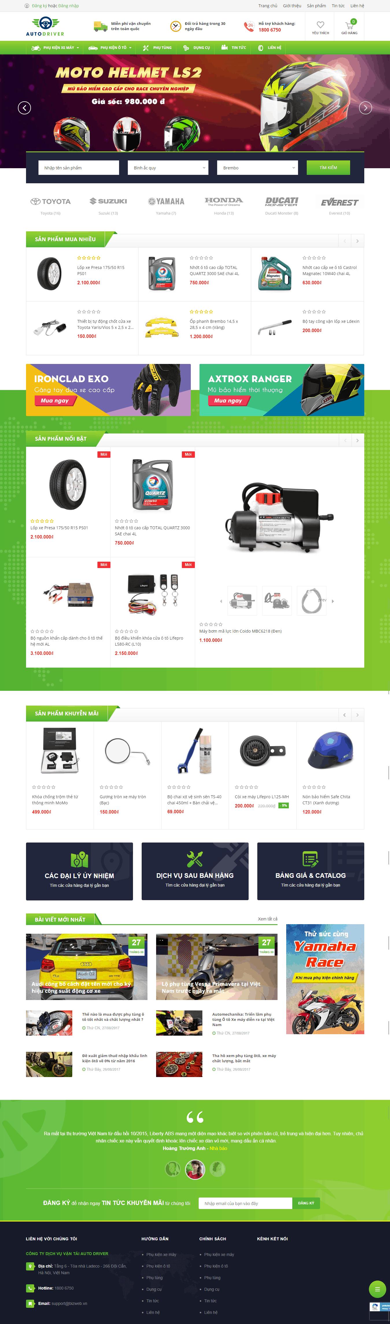 Thiết kế website Thiết kế website bán ô tô, xe máy Auto Driver