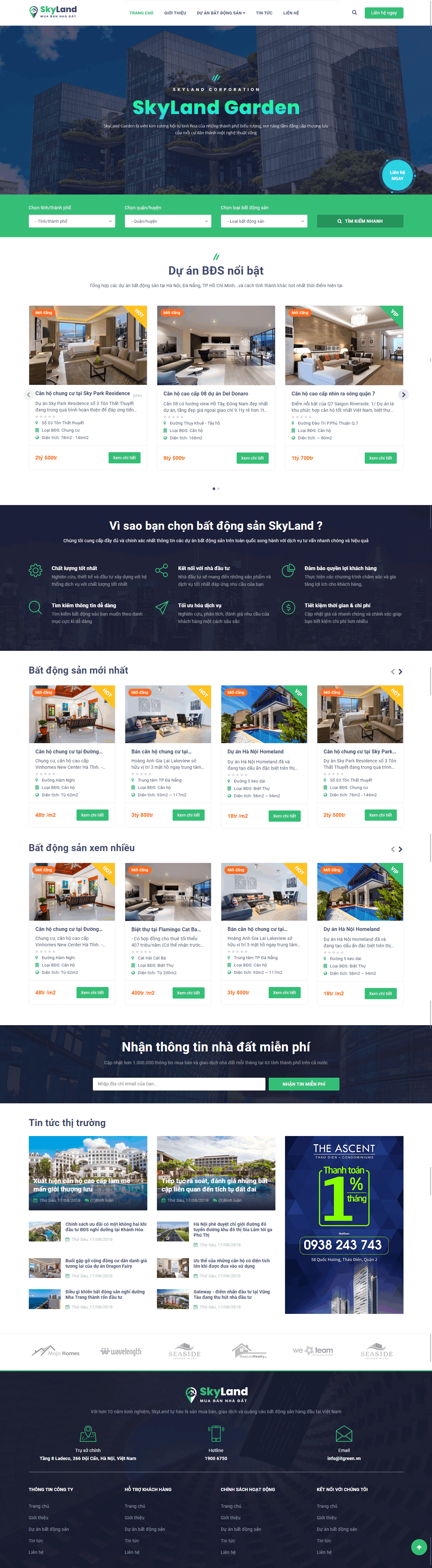 Thiết kế website Thiết kế website bất động sản SkyLand