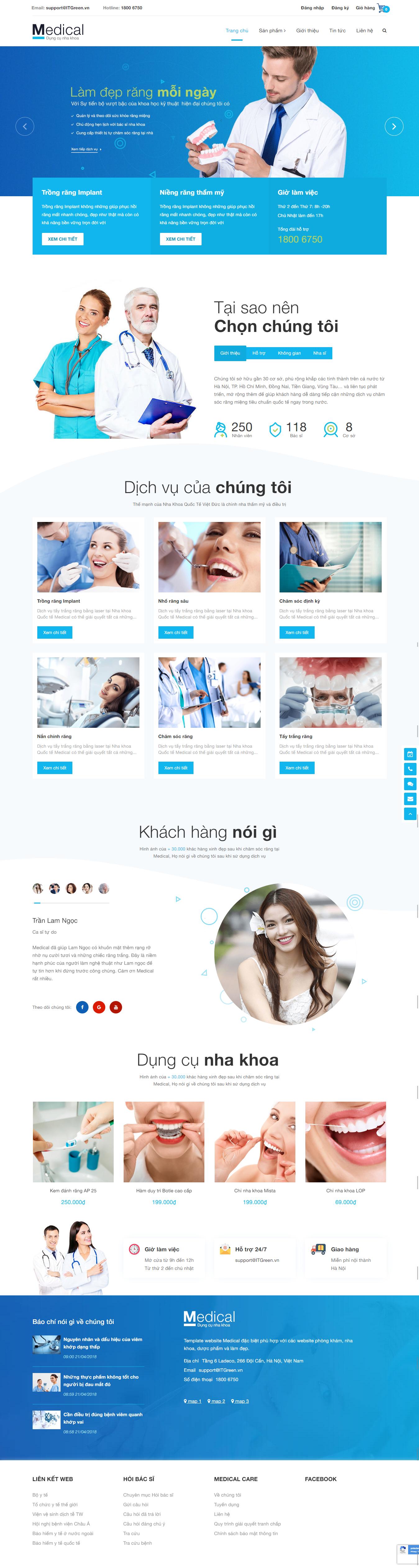 Thiết kế website Thiết kế website dịch vụ Medical