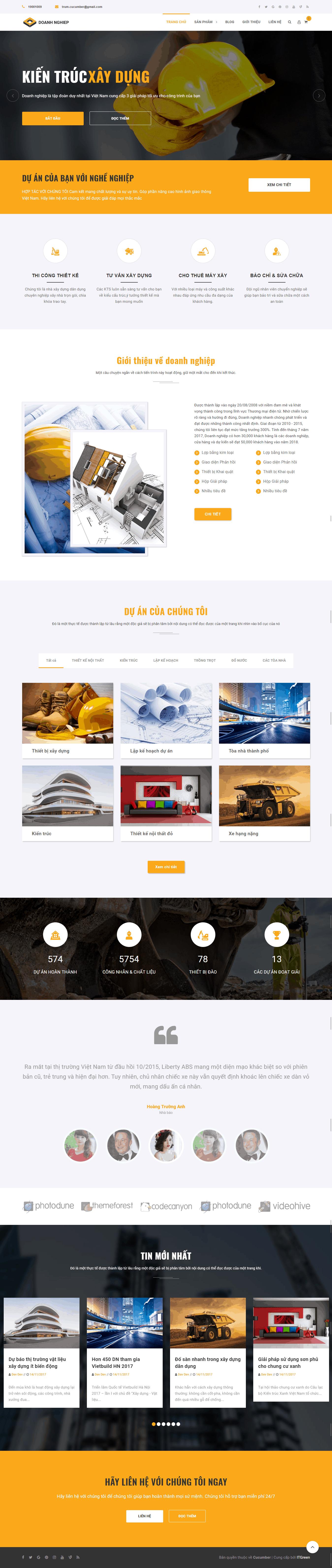 Thiết kế website Thiết kế website kiến trúc, nội thất, xây dựng Doanh nghiệp