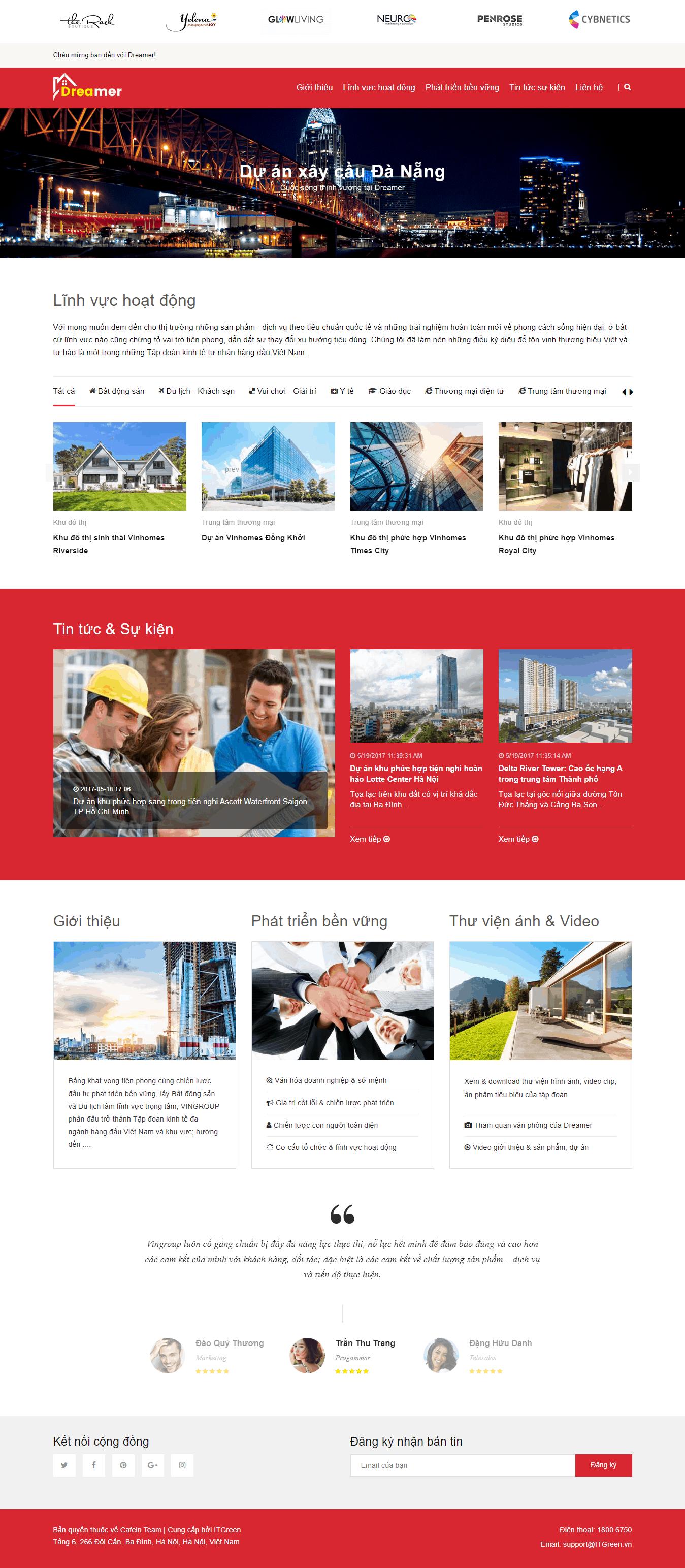 Thiết kế website Thiết kế website kiến trúc, nội thất, xây dựng Dreamer