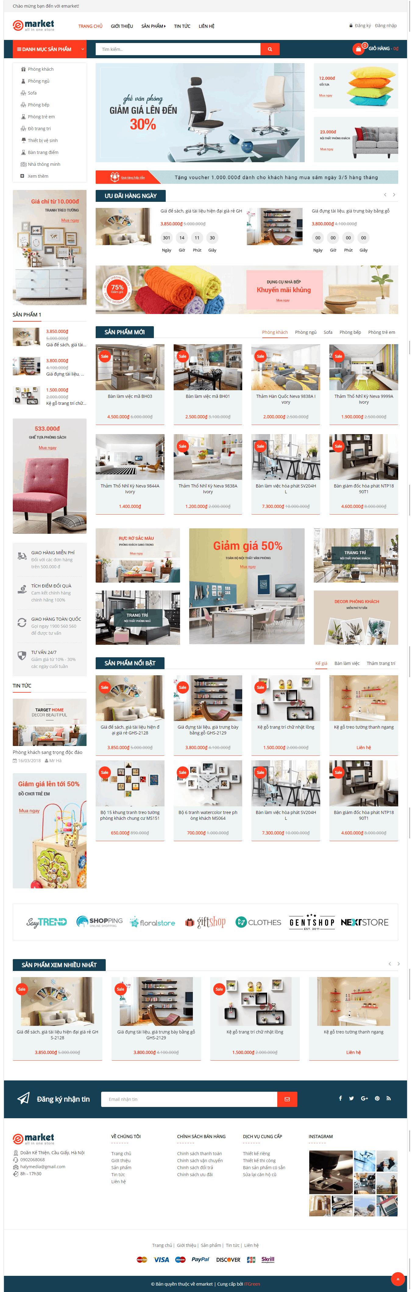 Thiết kế website Thiết kế website kiến trúc, nội thất, xây dựng Emarket