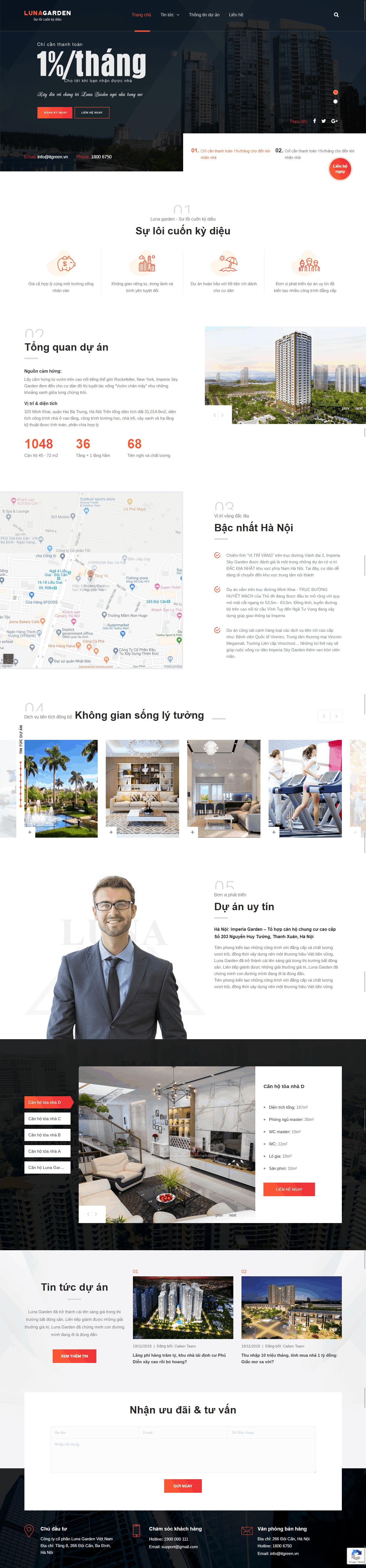 Thiết kế website Thiết kế website kiến trúc, nội thất, xây dựng Luna Garden