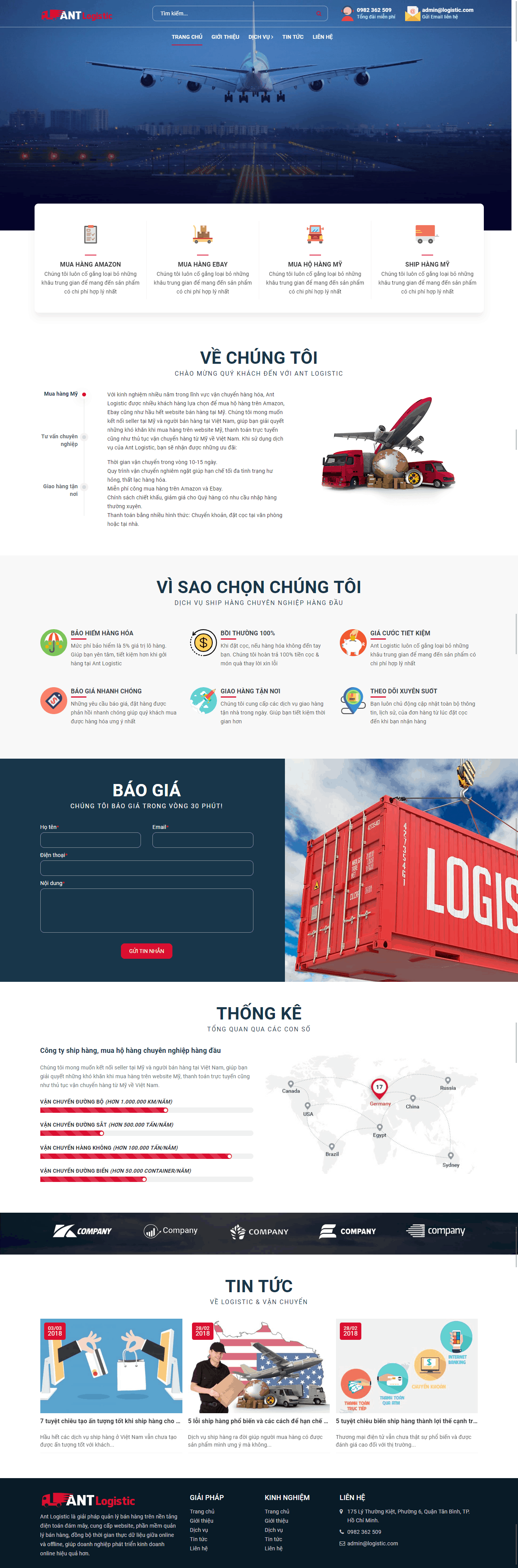 Thiết kế website Thiết kế website logistics, vận tải, chuyển phát nhanh Ant Logistic