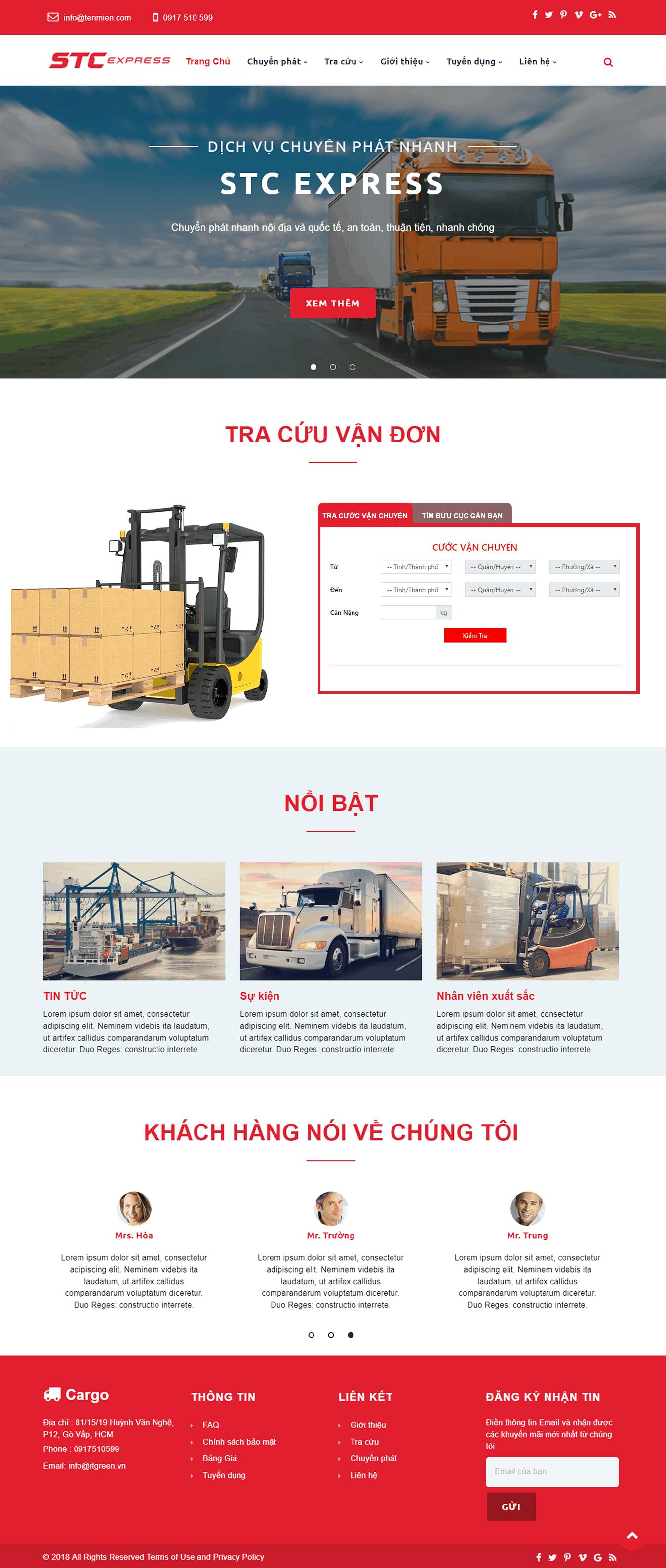 Thiết kế website Thiết kế website logistics, vận tải, chuyển phát nhanh van tai sct