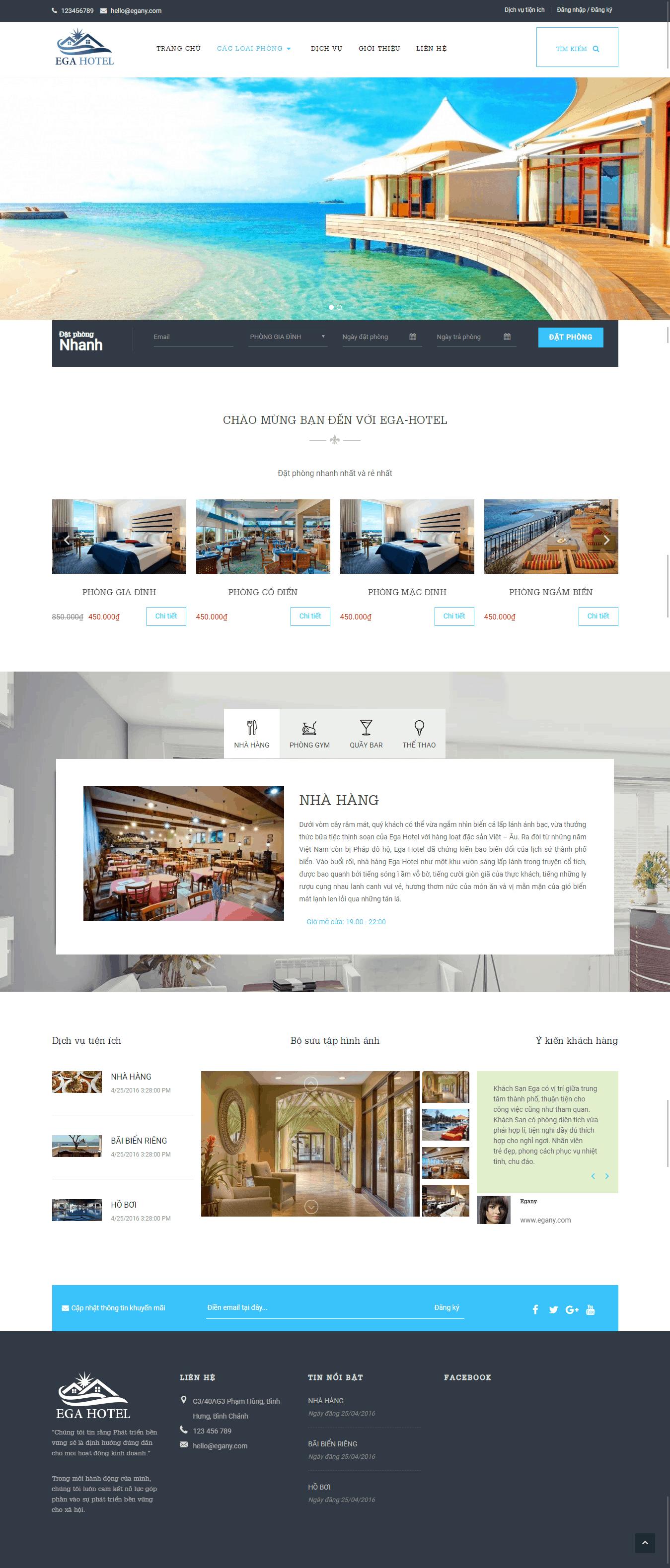 Thiết kế website Thiết kế website nhà hàng, khách sạn EGA Hotel