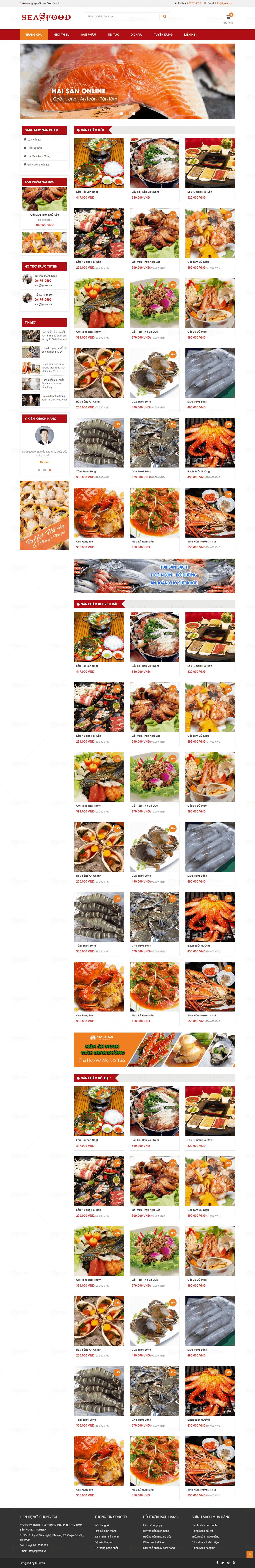 Thiết kế website Thiết kế website nhà hàng, khách sạn thuc pham sea food