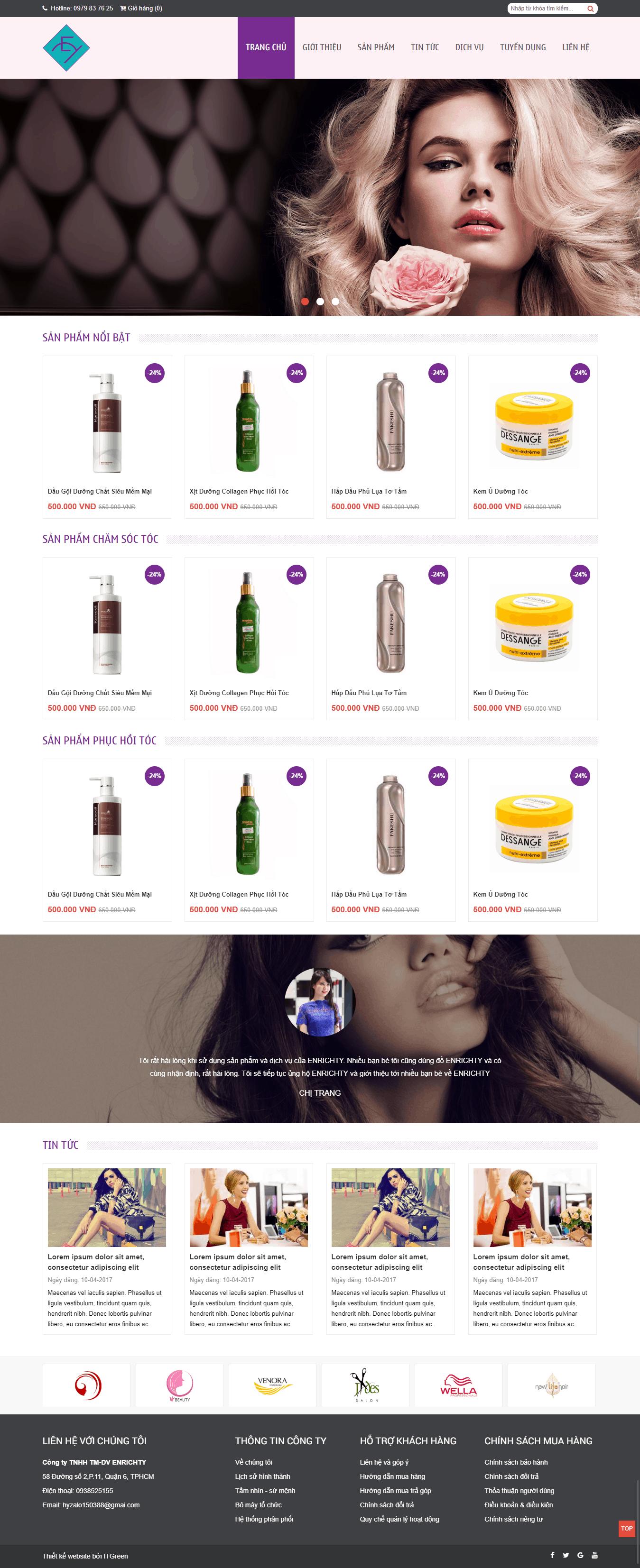 Thiết kế website Thiết kế website sản phẩm enrichty