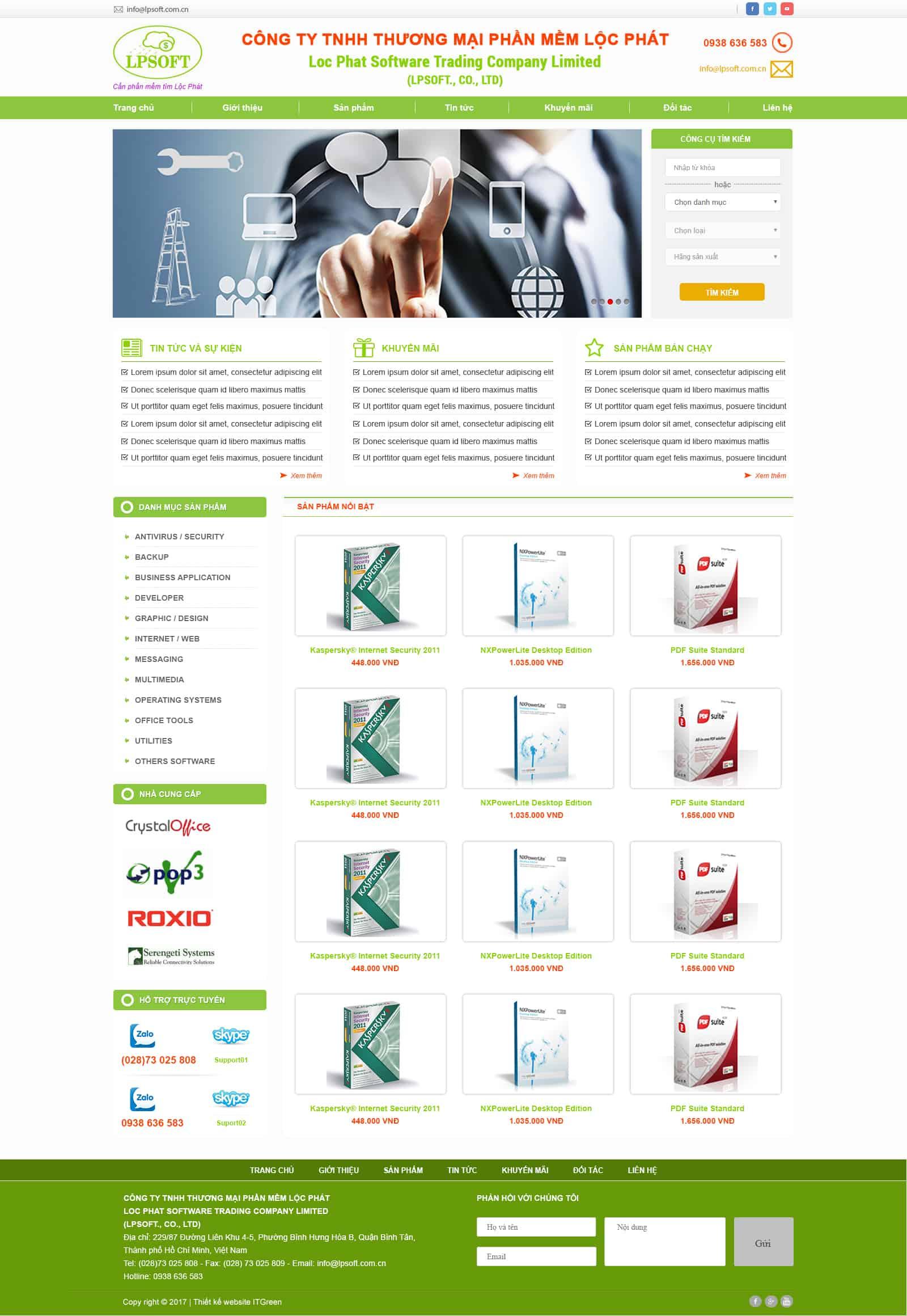 Thiết kế website Thiết kế website sản phẩm loc phat