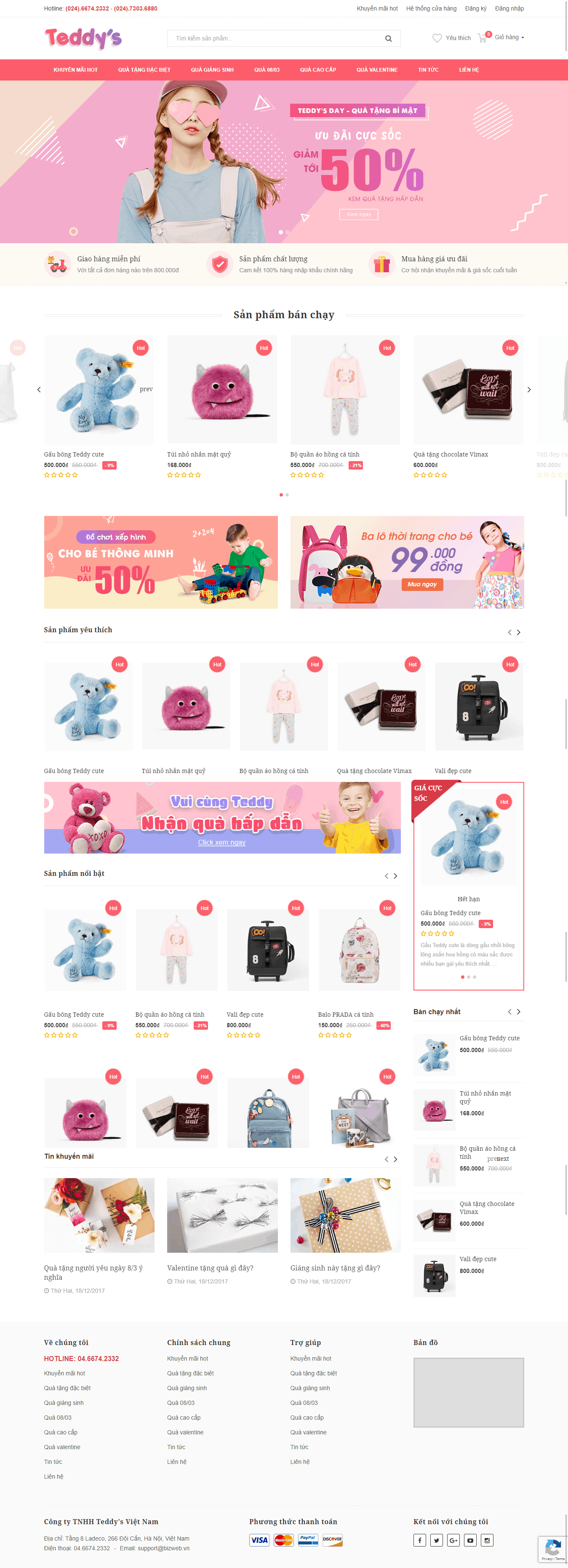 Thiết kế website Thiết kế website sản phẩm Teddy