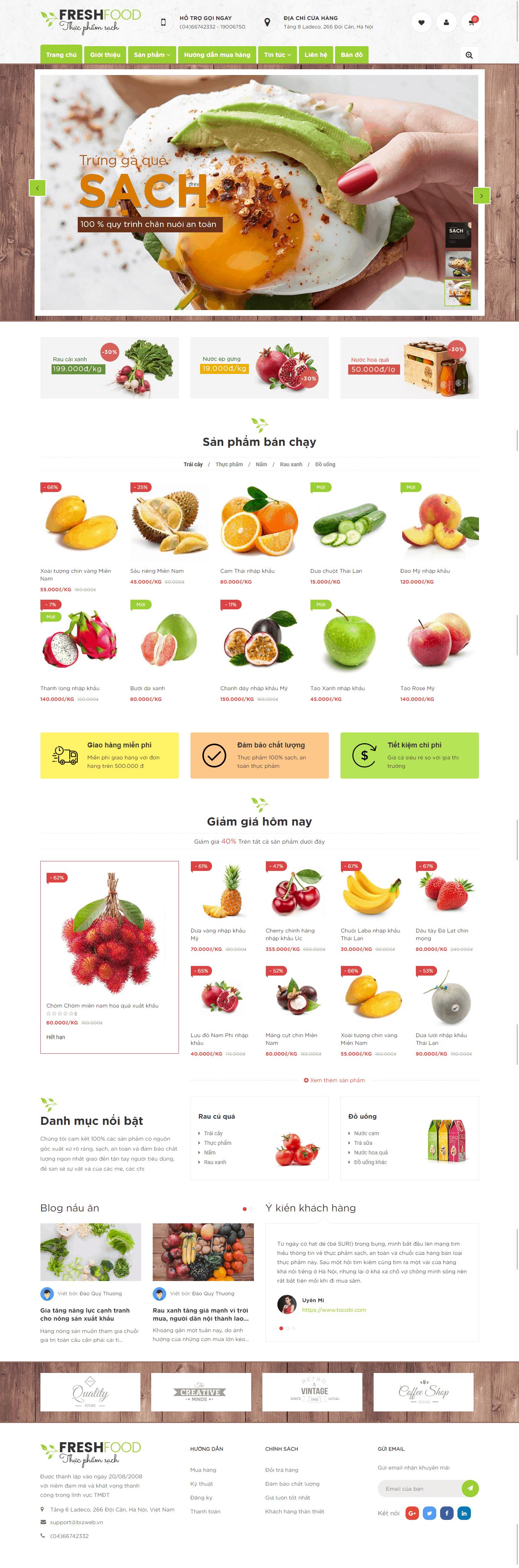 Thiết kế website Thiết kế website shop hoa, quà tặng Fresh Food Thuc pham sach