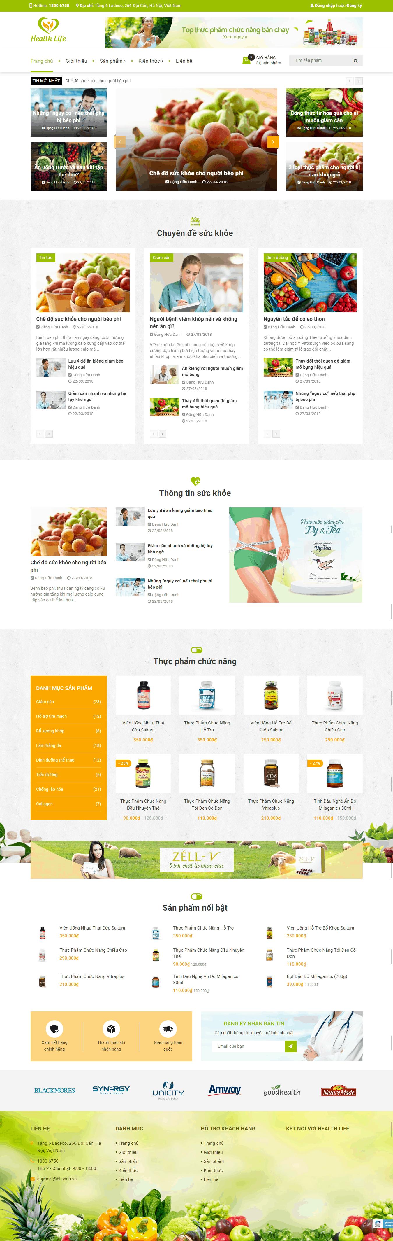 Thiết kế website Thiết kế website shop hoa, quà tặng Health Life