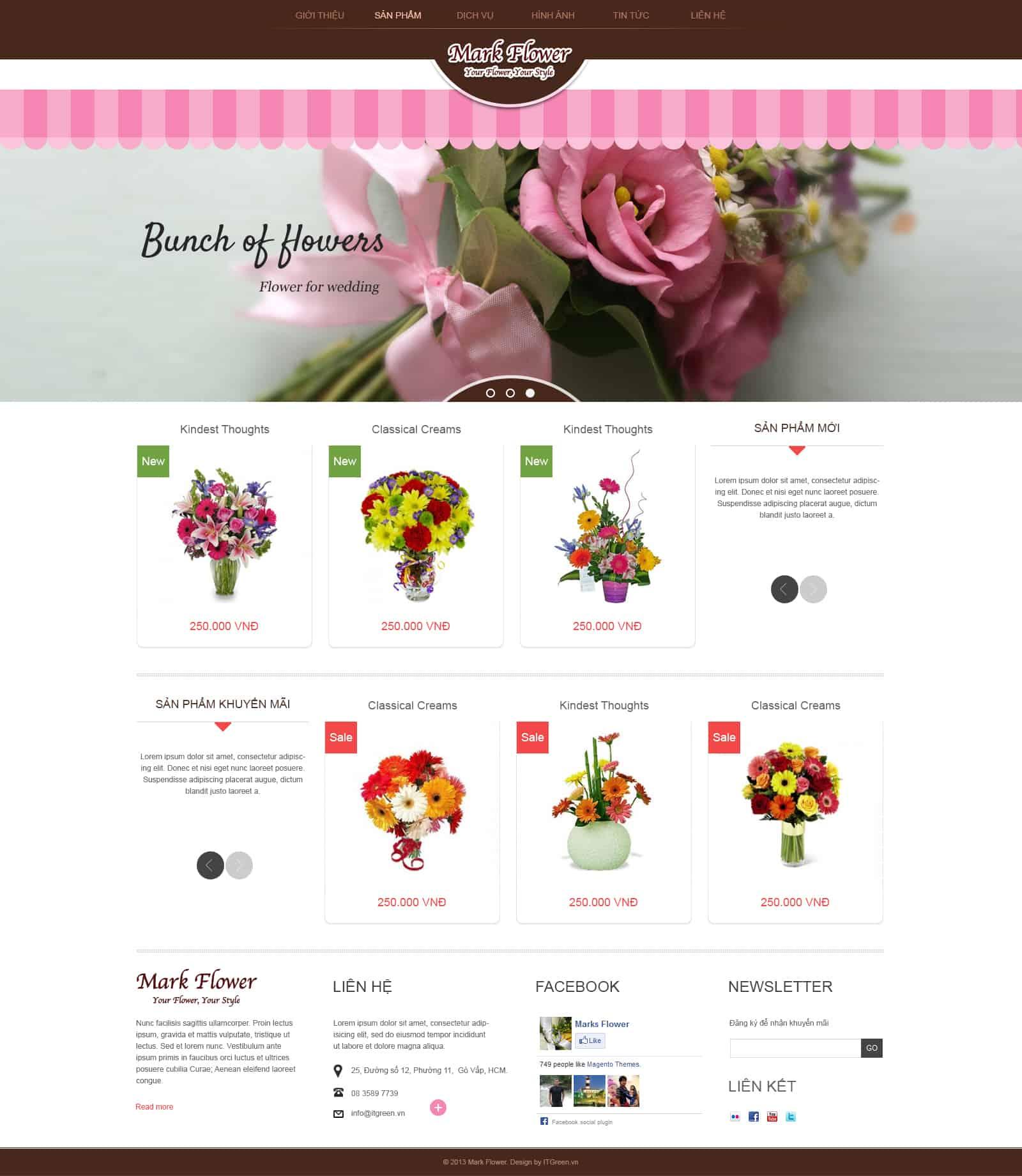 Thiết kế website Thiết kế website shop hoa, quà tặng hoa tuoi