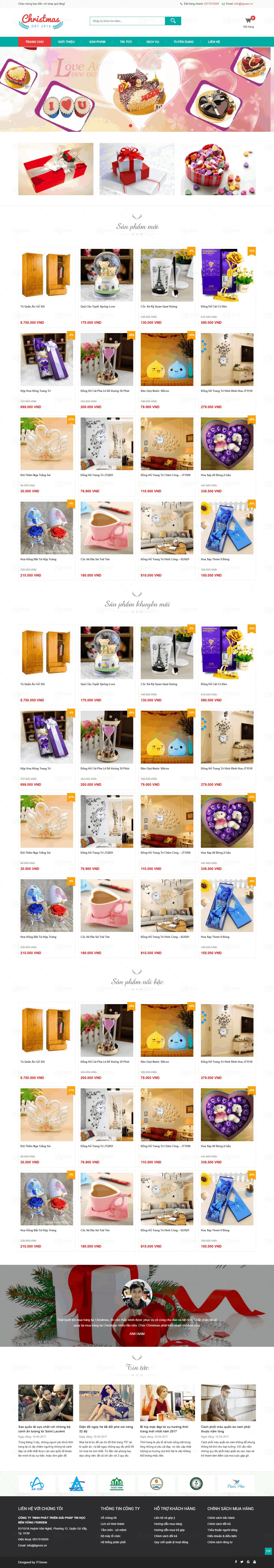 Thiết kế website Thiết kế website shop hoa, quà tặng qua tang gia re