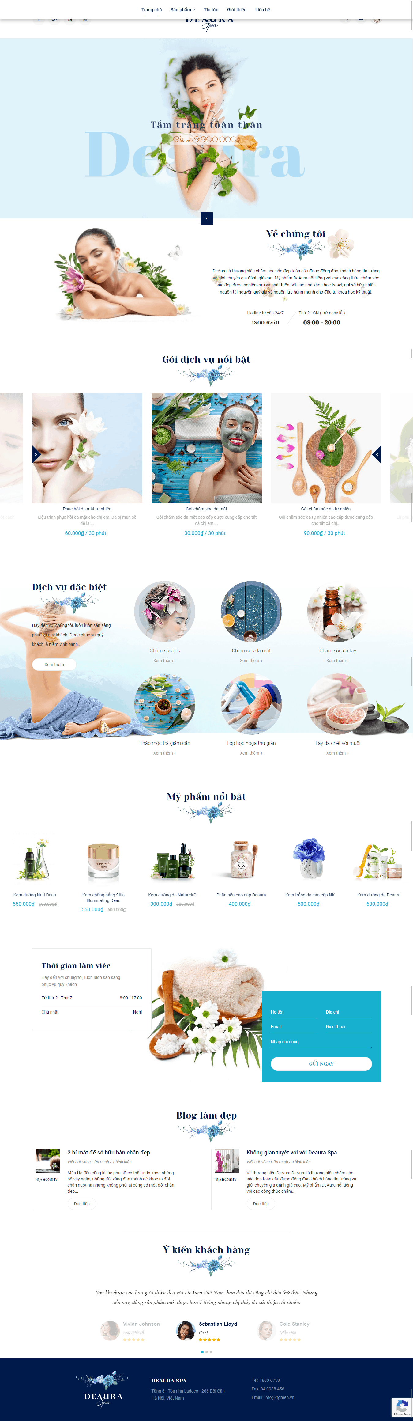 Thiết kế website Thiết kế website spa thẩm mỹ viện Deaura Spa