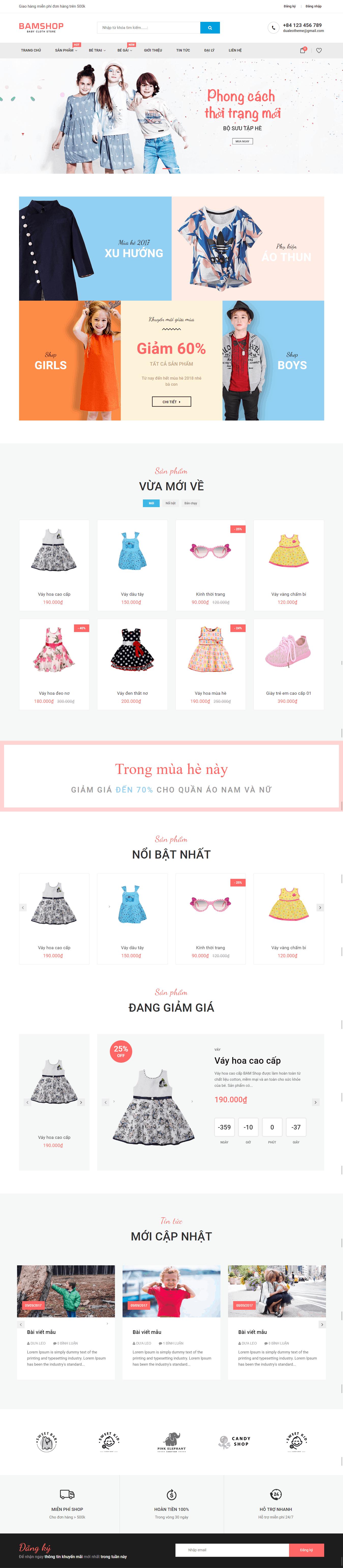 Thiết kế website Thiết kế website thời trang, bán quần áo Baby Shop