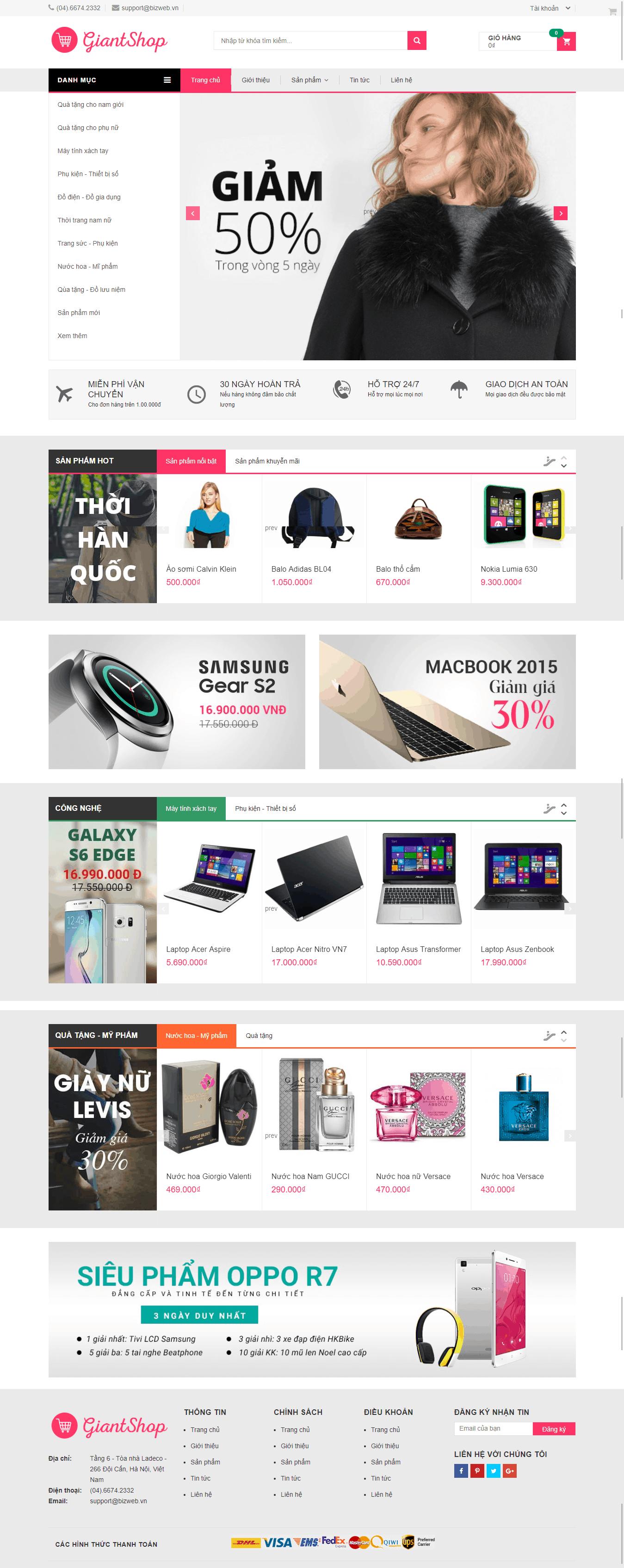Thiết kế website Thiết kế website thời trang, bán quần áo Giant shop