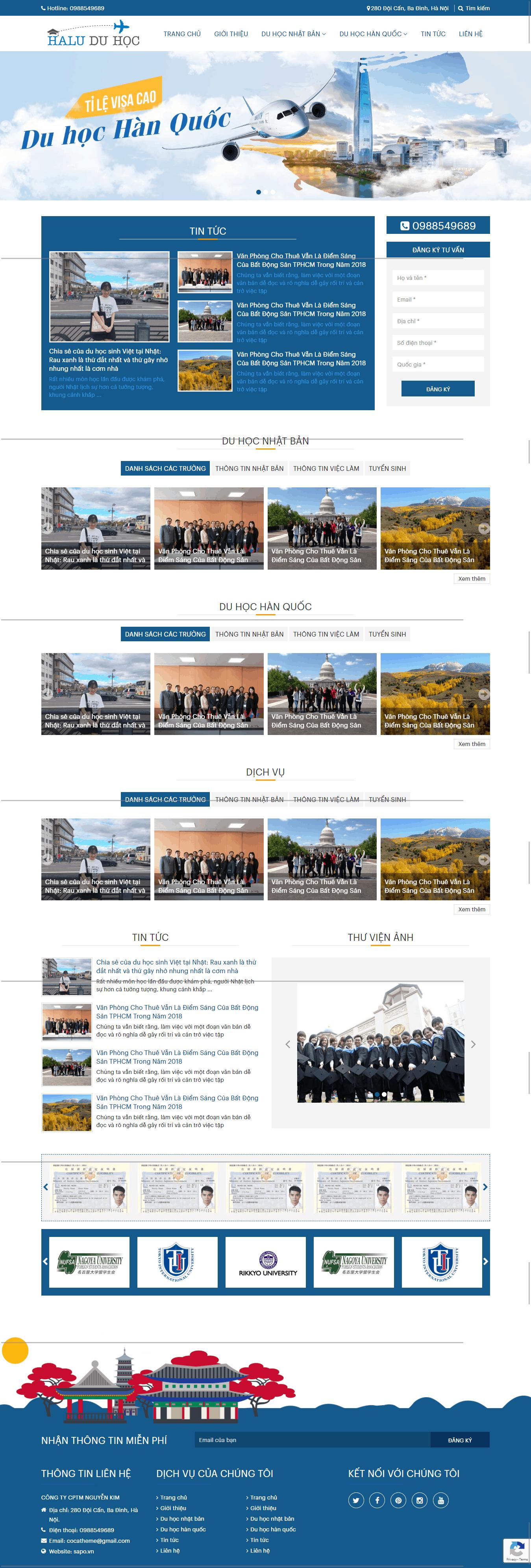 Thiết kế website Thiết kế website trường học Du hoc halu