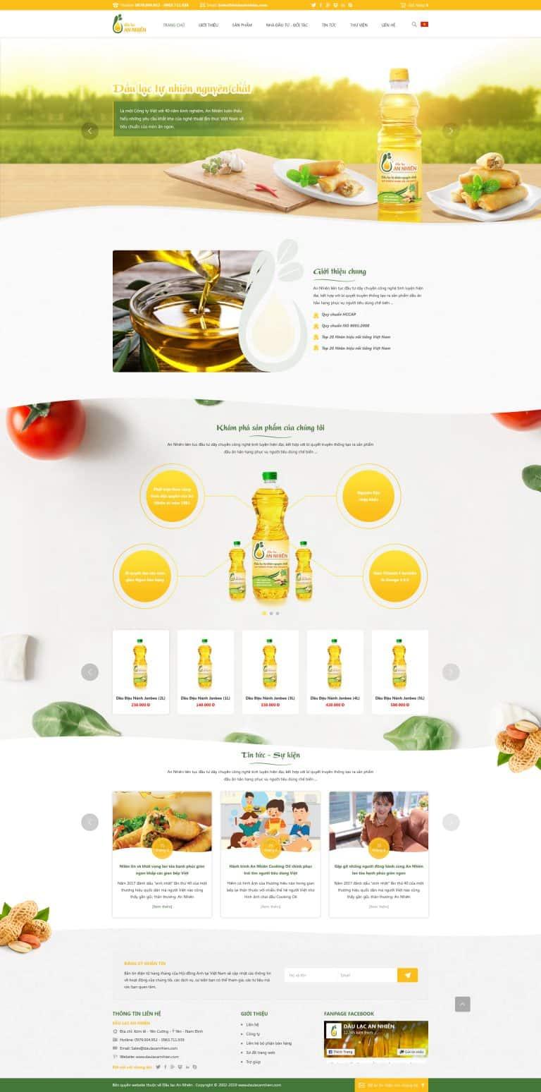 Thiết kế website Bán dầu lạc tự nhiên