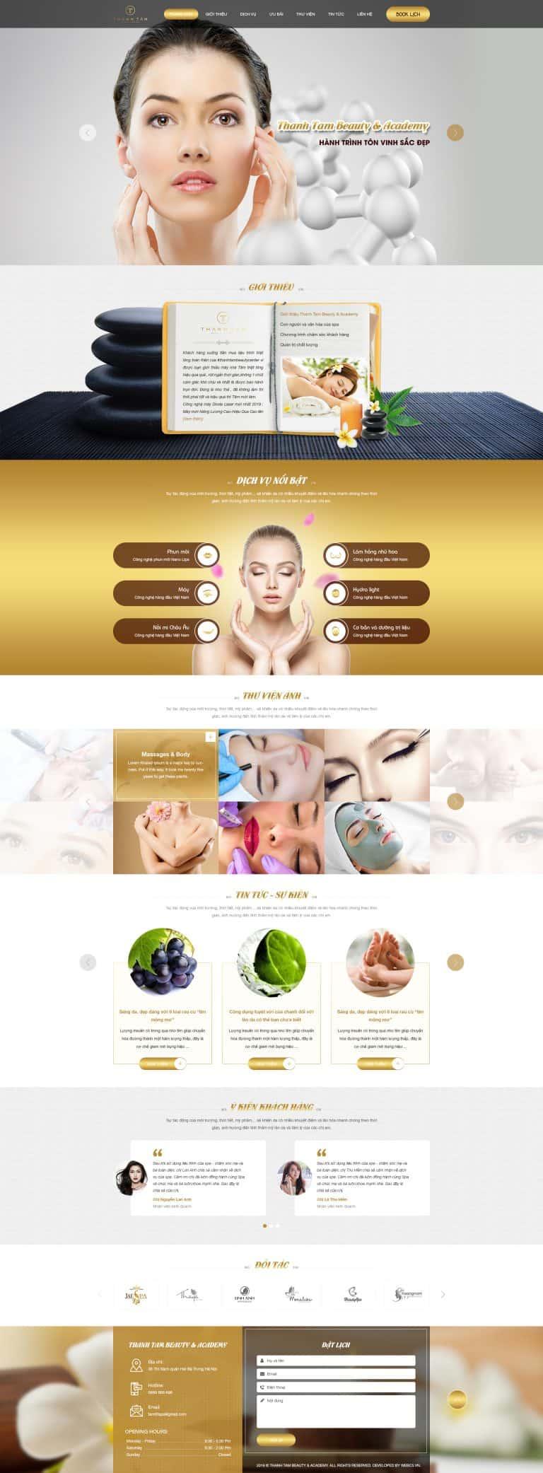 Thiết kế website Spa thẩm mỹ Thanh Tâm