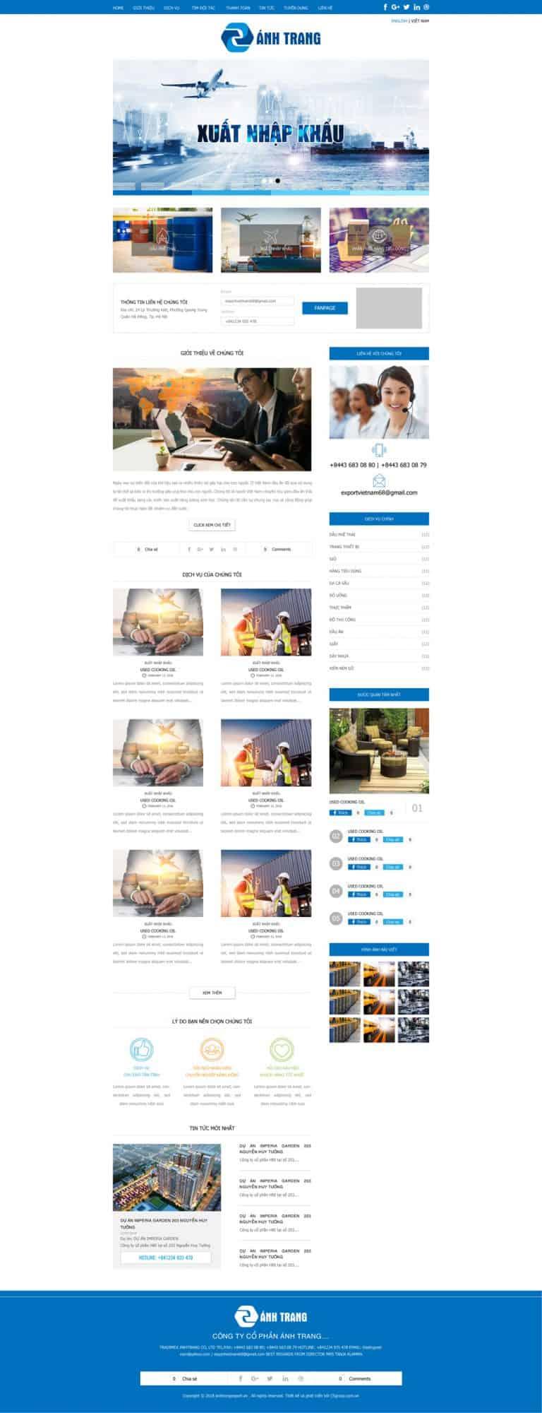 Thiết kế website Xuất nhập khẩu Ánh Trang