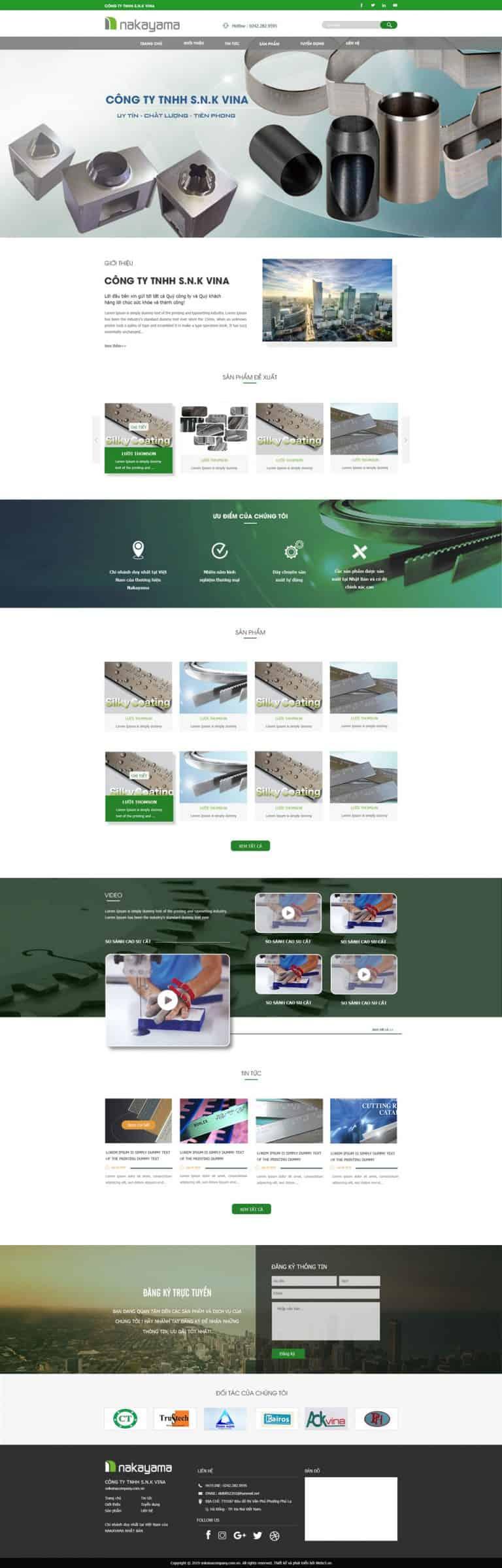 Thiết kế website Sản xuất dao Nakayama