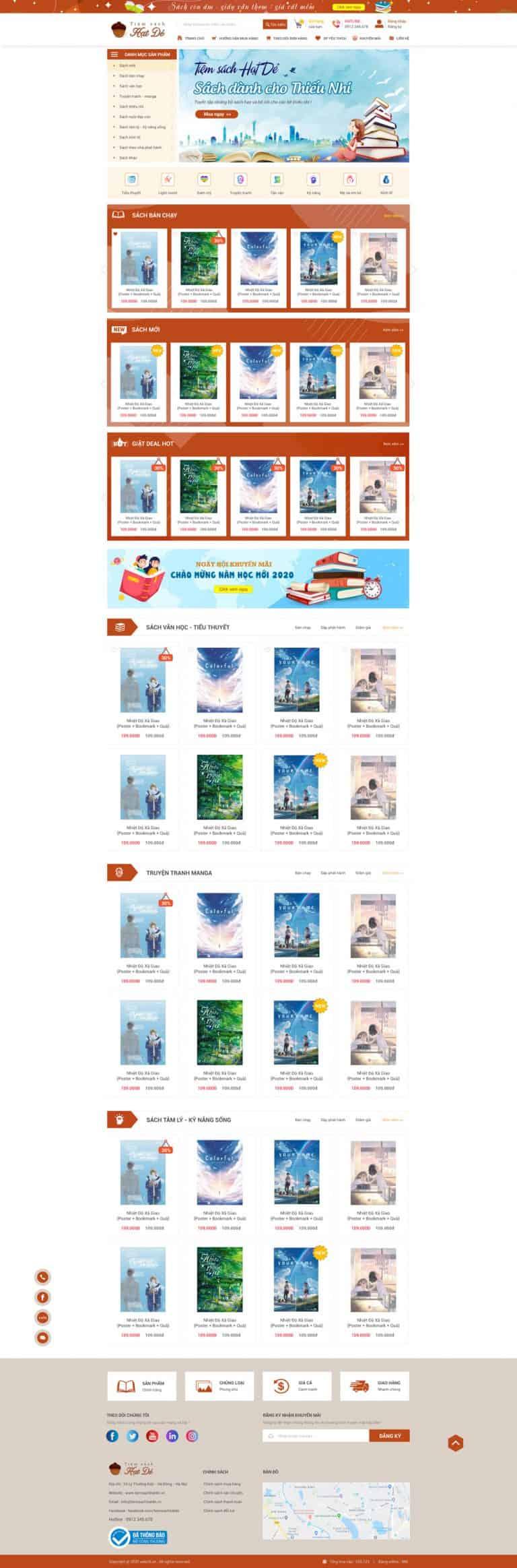 Thiết kế website Cửa hàng sách online