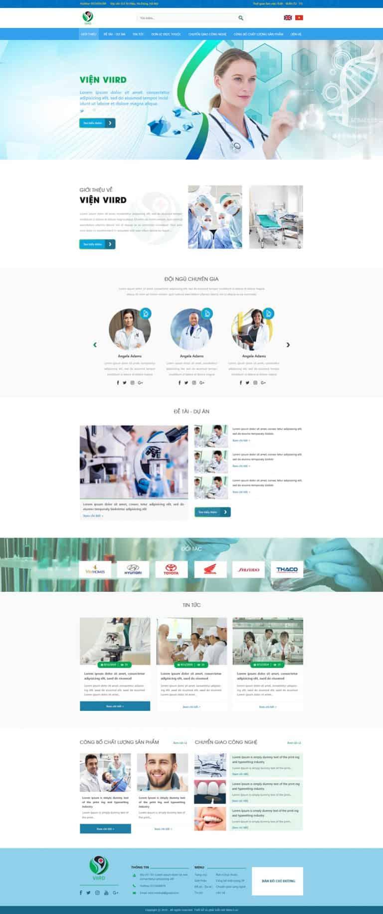 Thiết kế website Viện nghiên cứu phát triển Y dược