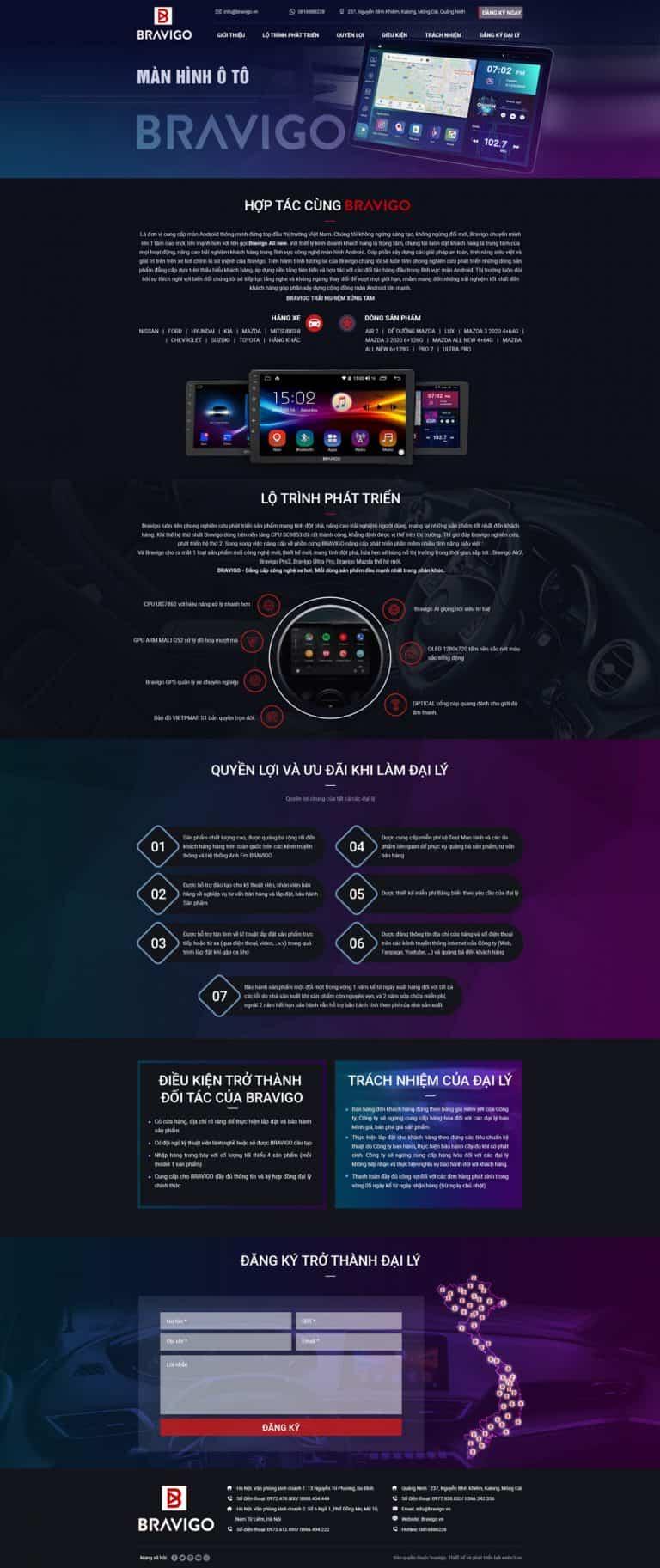 Thiết kế website Bán màn hình ô tô