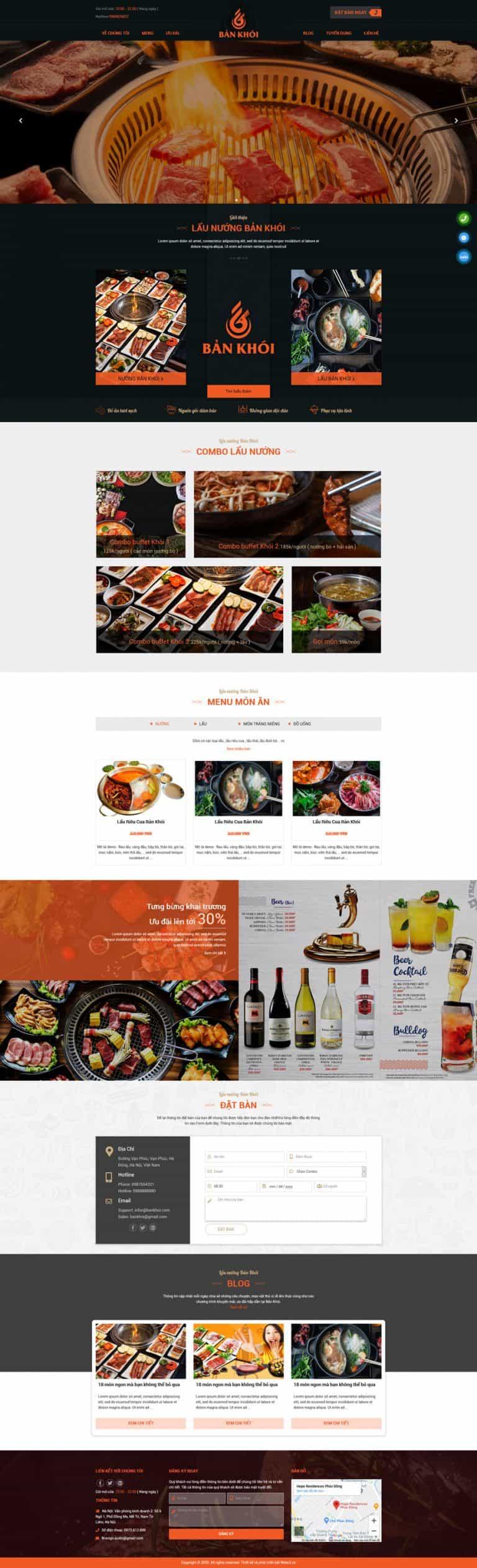 Thiết kế website Nhà hàng lẩu nướng Bản Khói