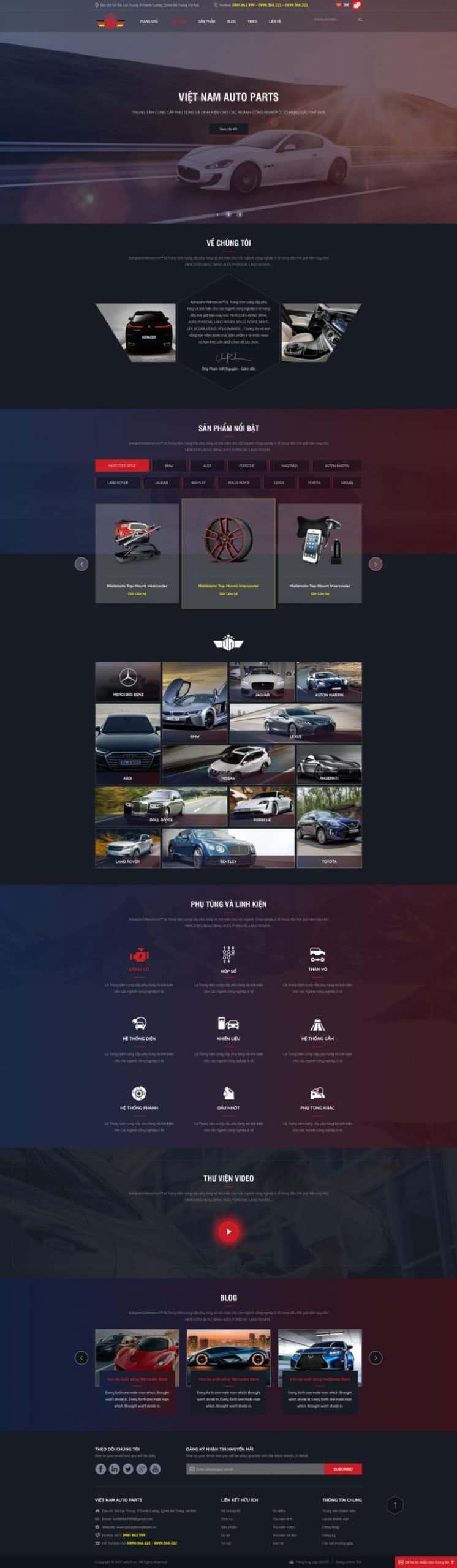 Thiết kế website Phụ tùng ô tô VN