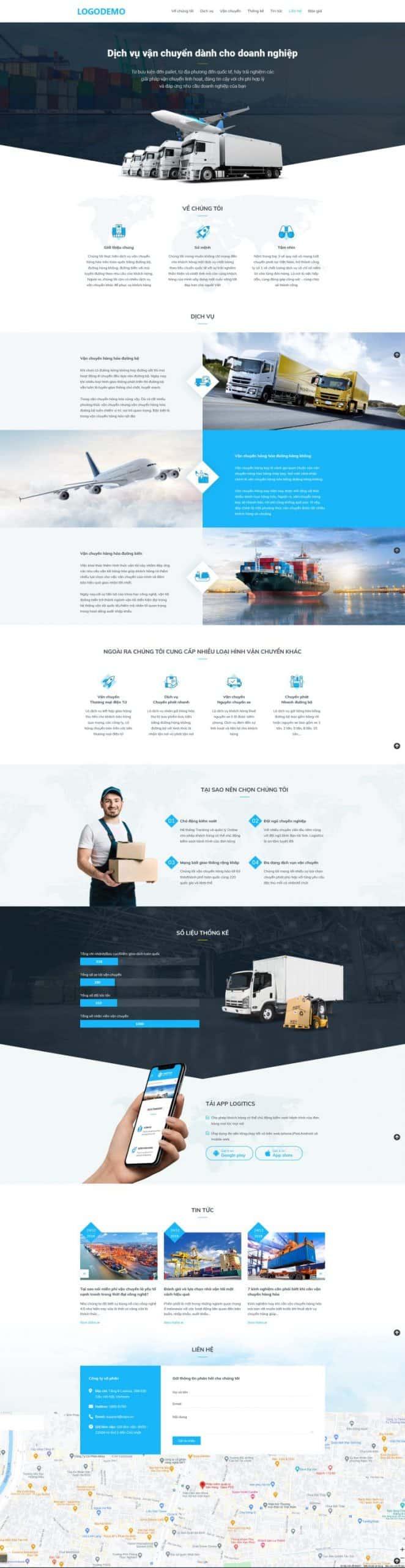 Thiết kế website Dịch vụ vận chuyển (Landingpage)