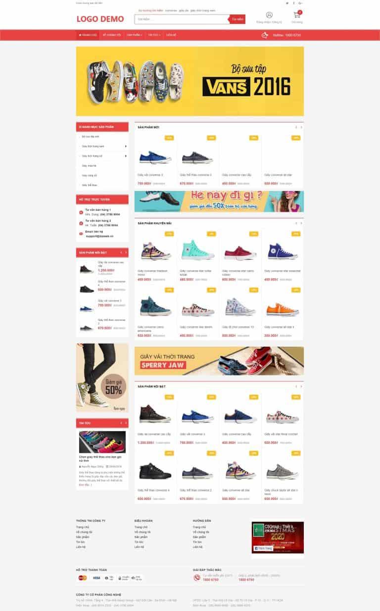 Thiết kế website Shop bán giầy