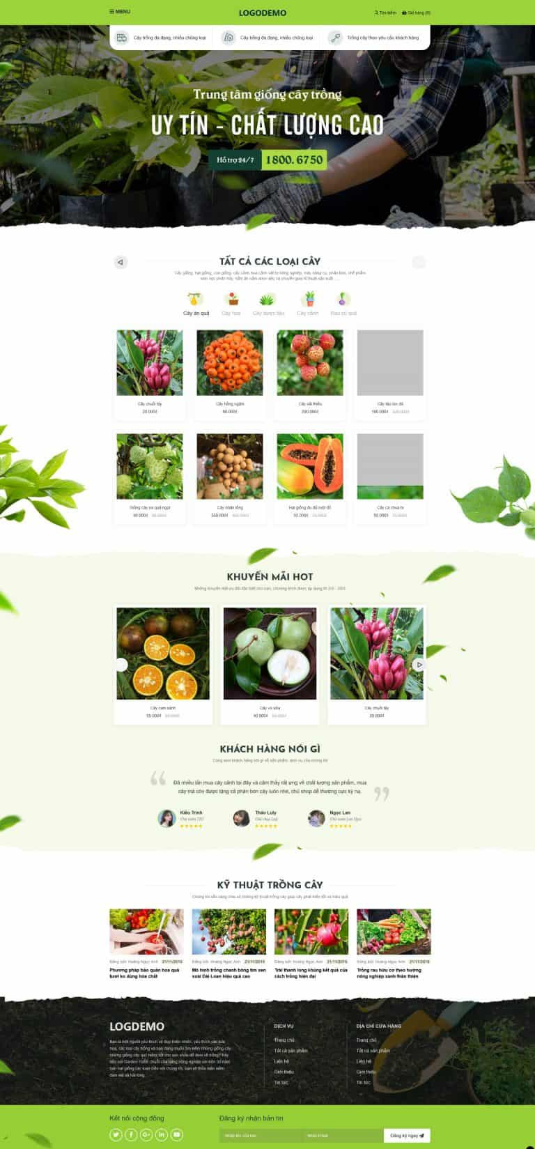 Thiết kế website Shop trái cây