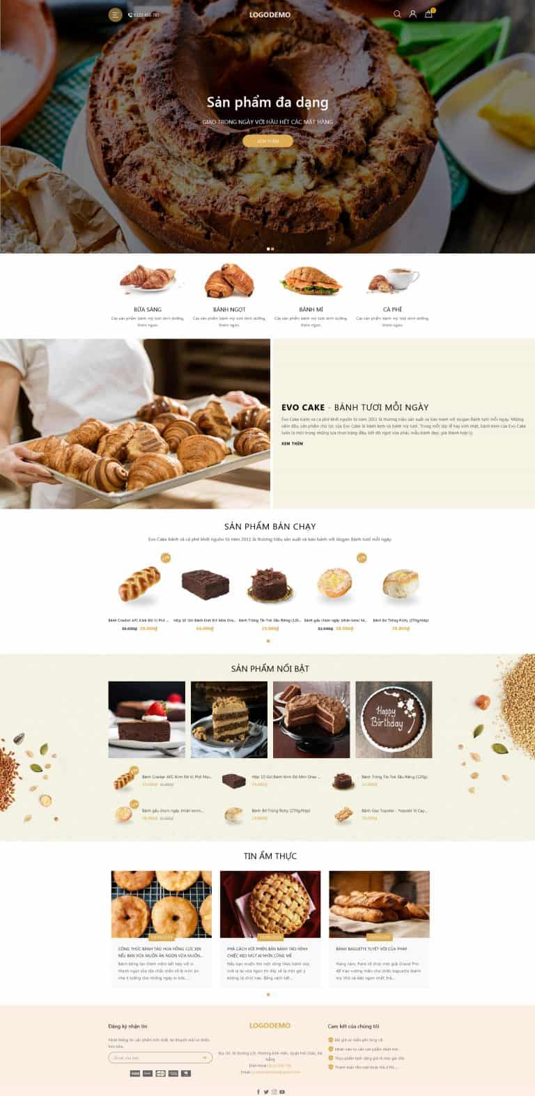 Thiết kế website Shop bánh ngọt