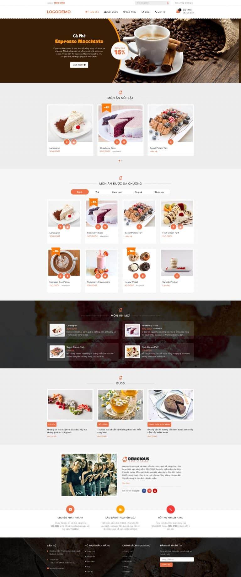 Thiết kế website Thức ăn, đồ uống